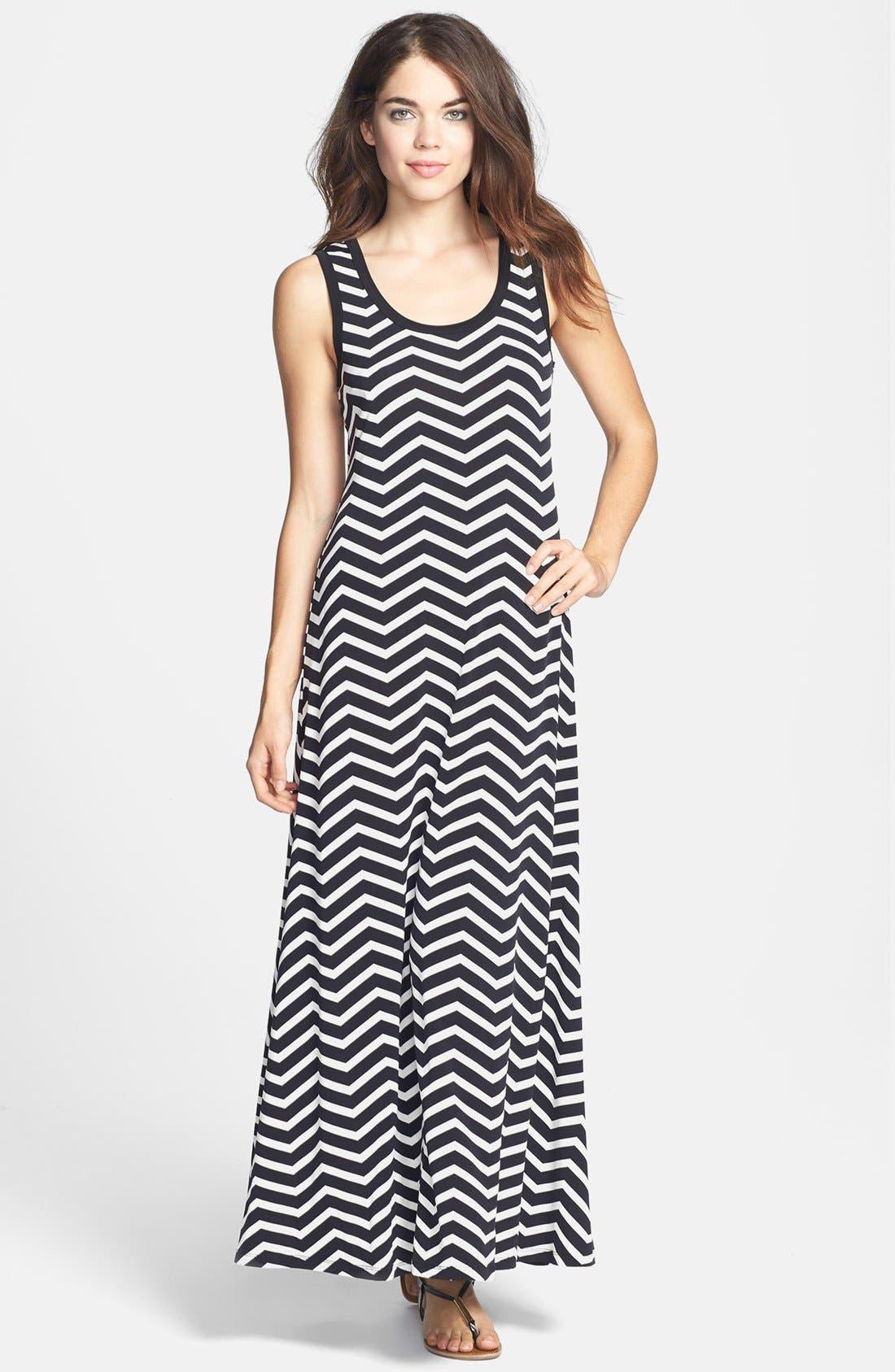 Alternate Image 1 Selected - Calvin Klein Stripe Jersey Maxi Dress