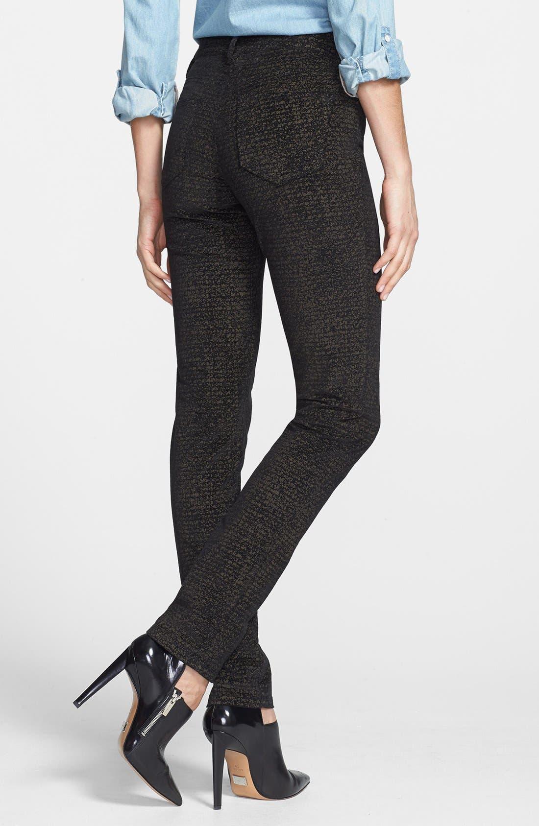 Alternate Image 2  - Christopher Blue 'Sophia' Velvet Skinny Jeans (Black/Gold)