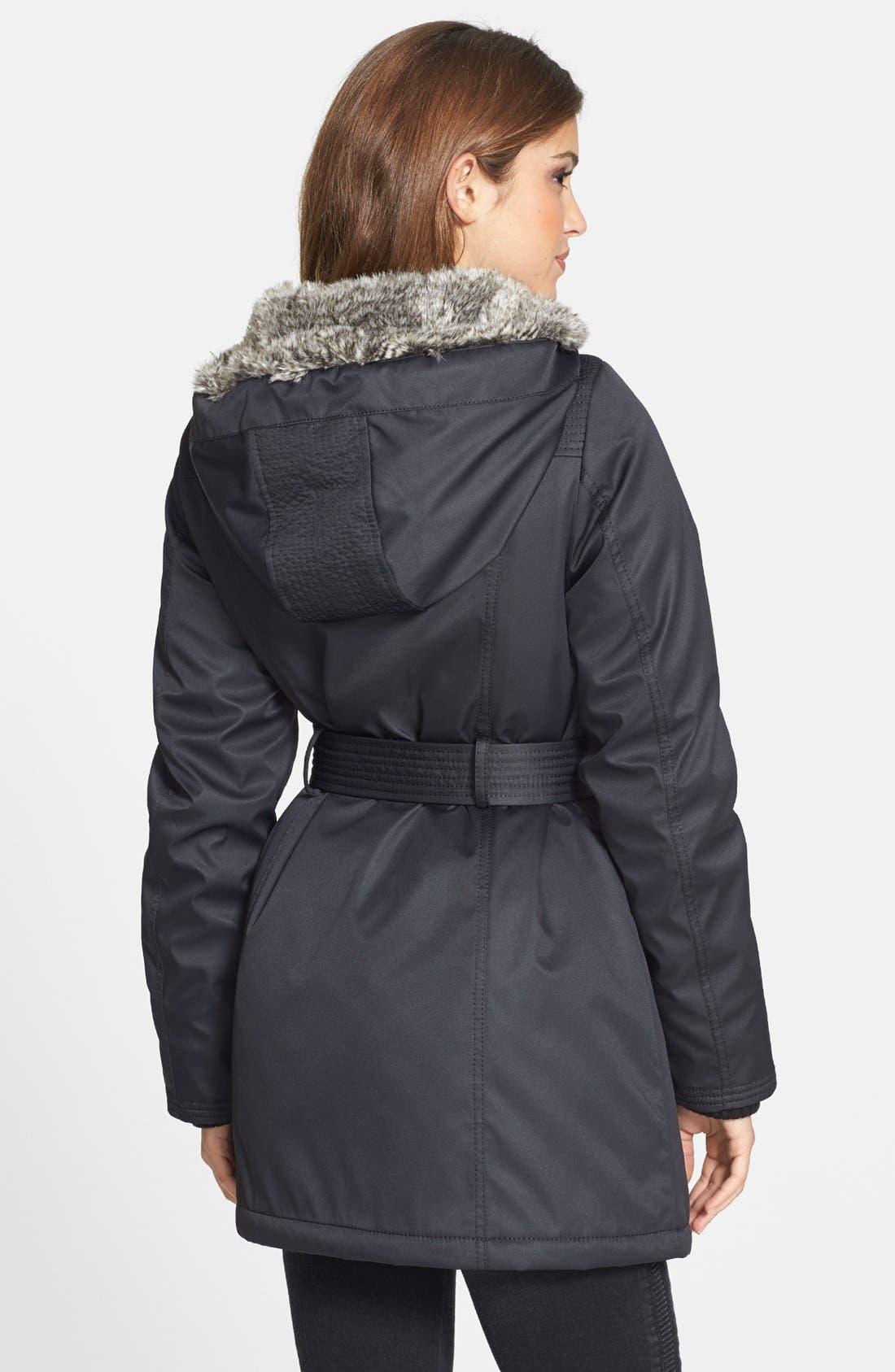 Alternate Image 2  - kensie Belted Puffer Coat with Faux Fur Trim