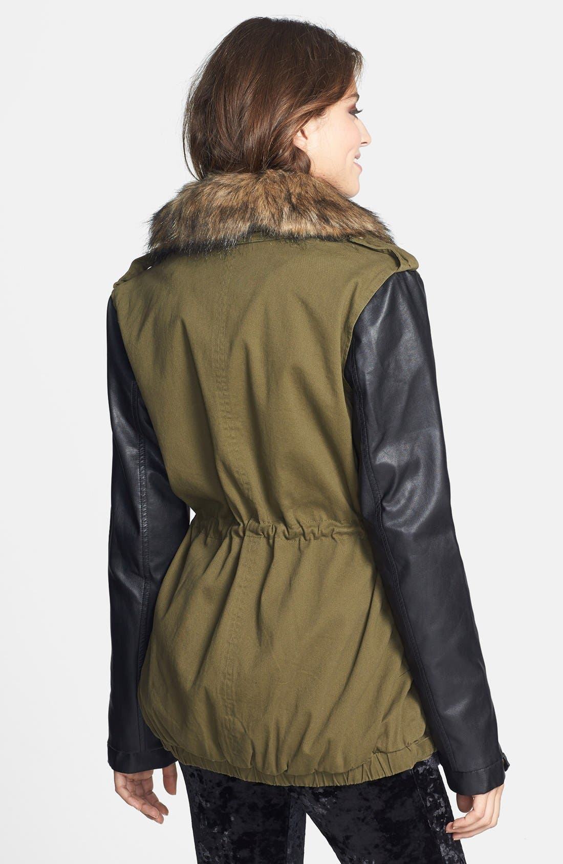Alternate Image 2  - Pink Envelope Faux Leather Sleeve Jacket (Juniors) (Online Only)