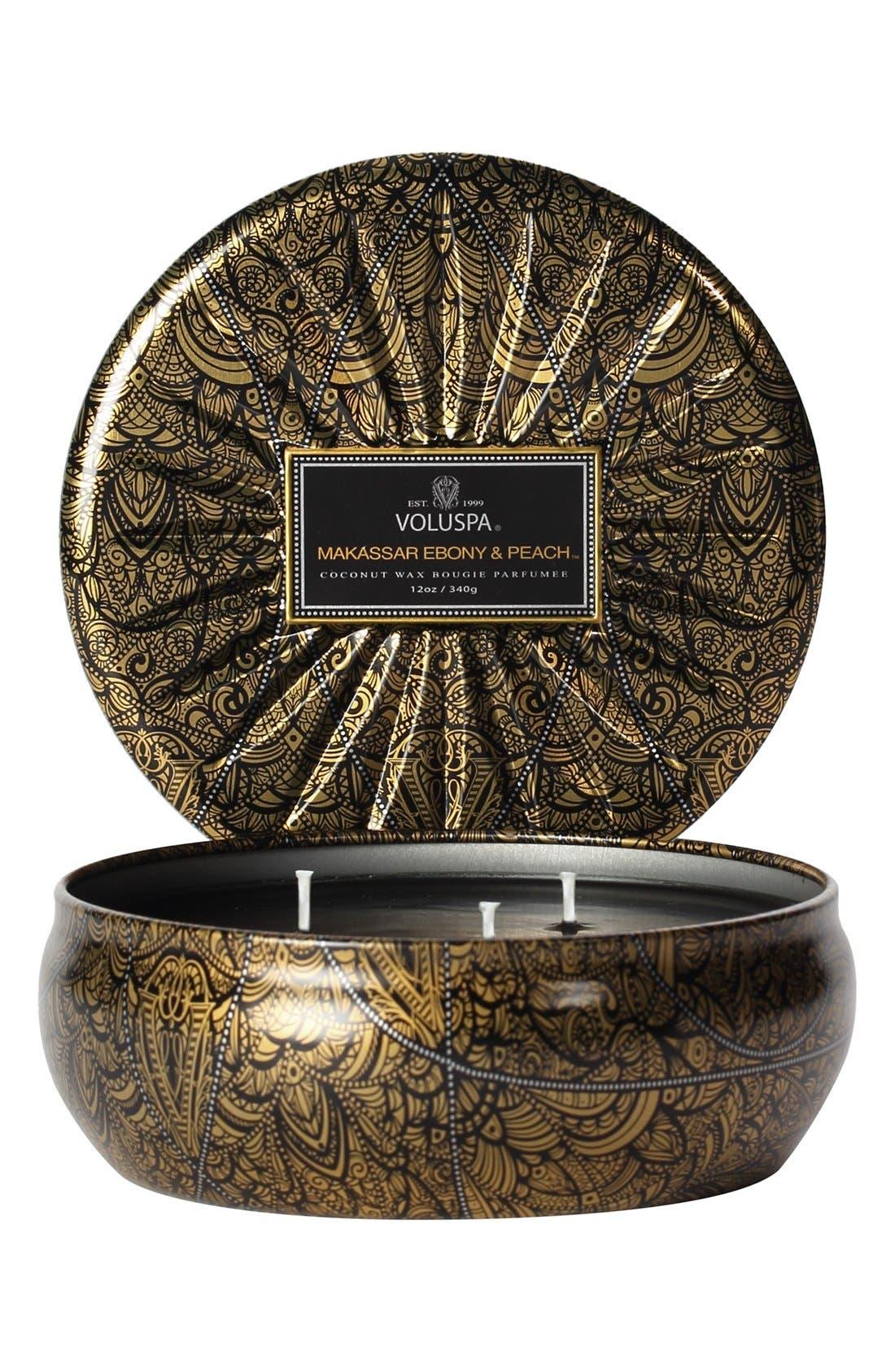 Alternate Image 1 Selected - Voluspa 'Vermeil - Makassar Ebony & Peach' 3-Wick Candle