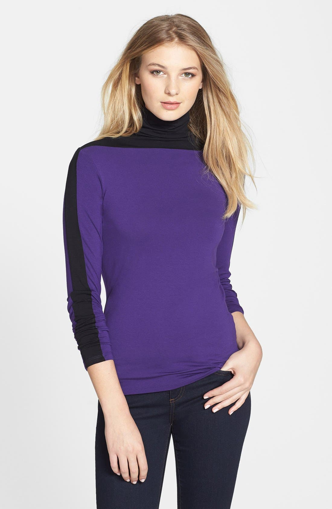 Alternate Image 1 Selected - Vince Camuto Colorblock Turtleneck