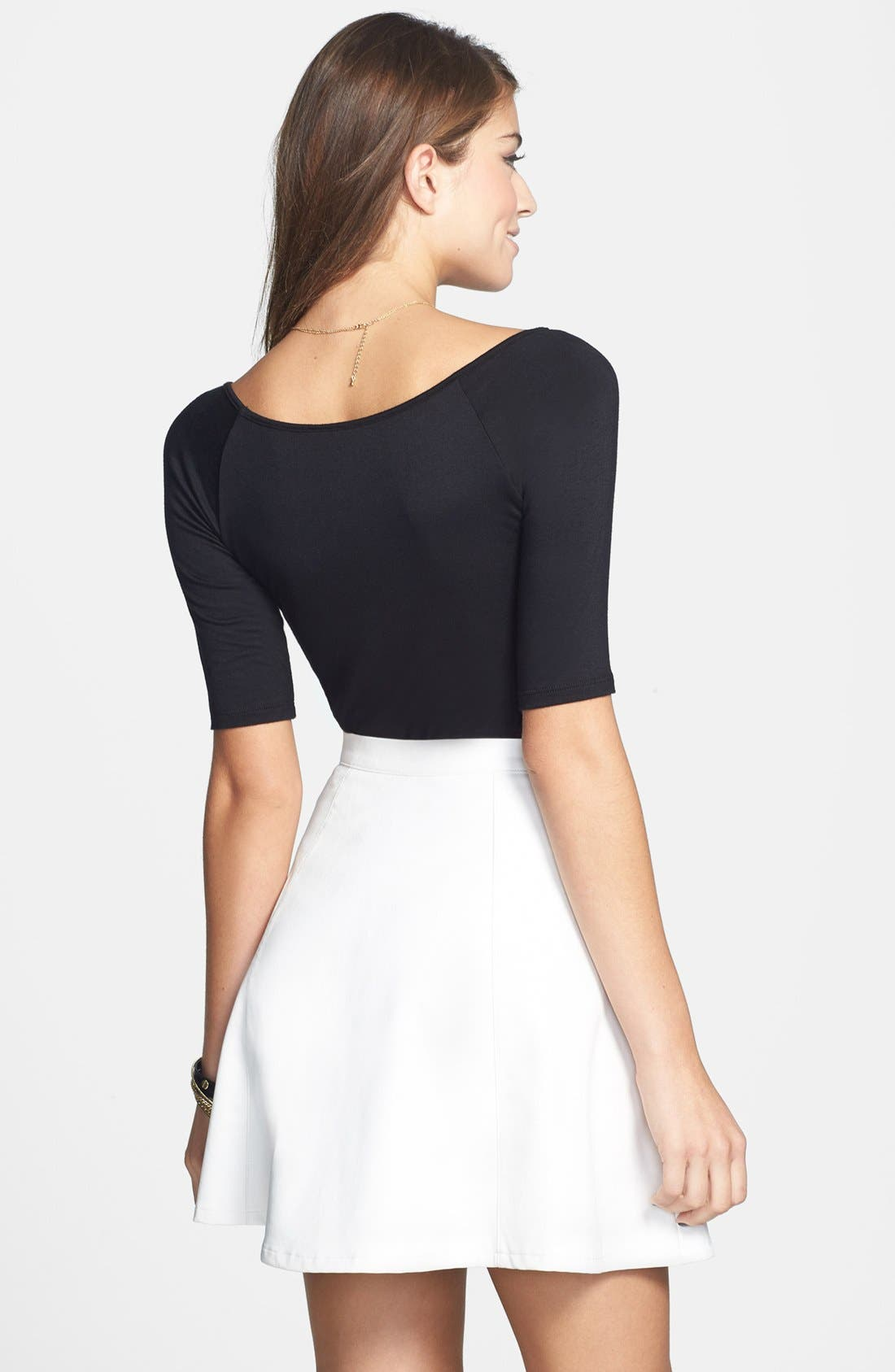 Alternate Image 2  - Lily White Faux Leather Skater Skirt (Juniors) (Online Only)