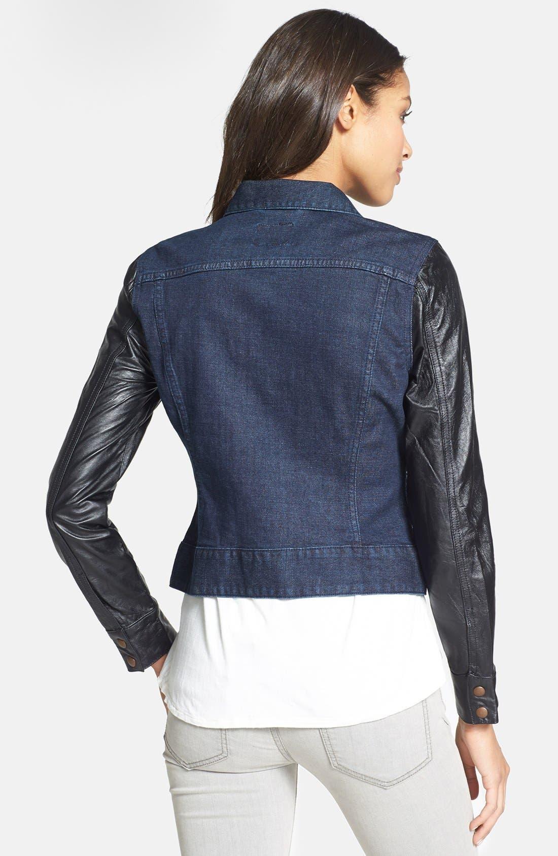 Alternate Image 2  - Lucky Brand 'Sabrina' Leather Sleeve Denim Jacket