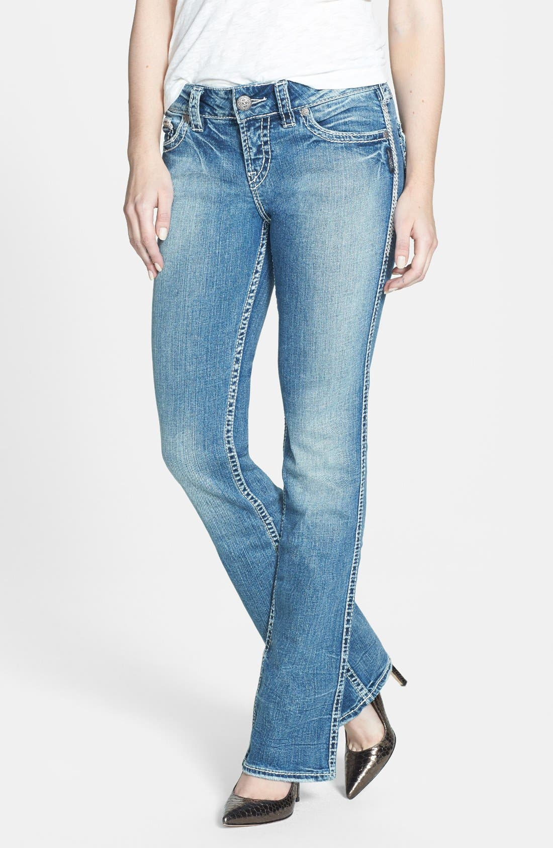 Alternate Image 1 Selected - Silver Jeans Co. 'Suki' Flap Pocket Bootcut Jeans (Indigo)