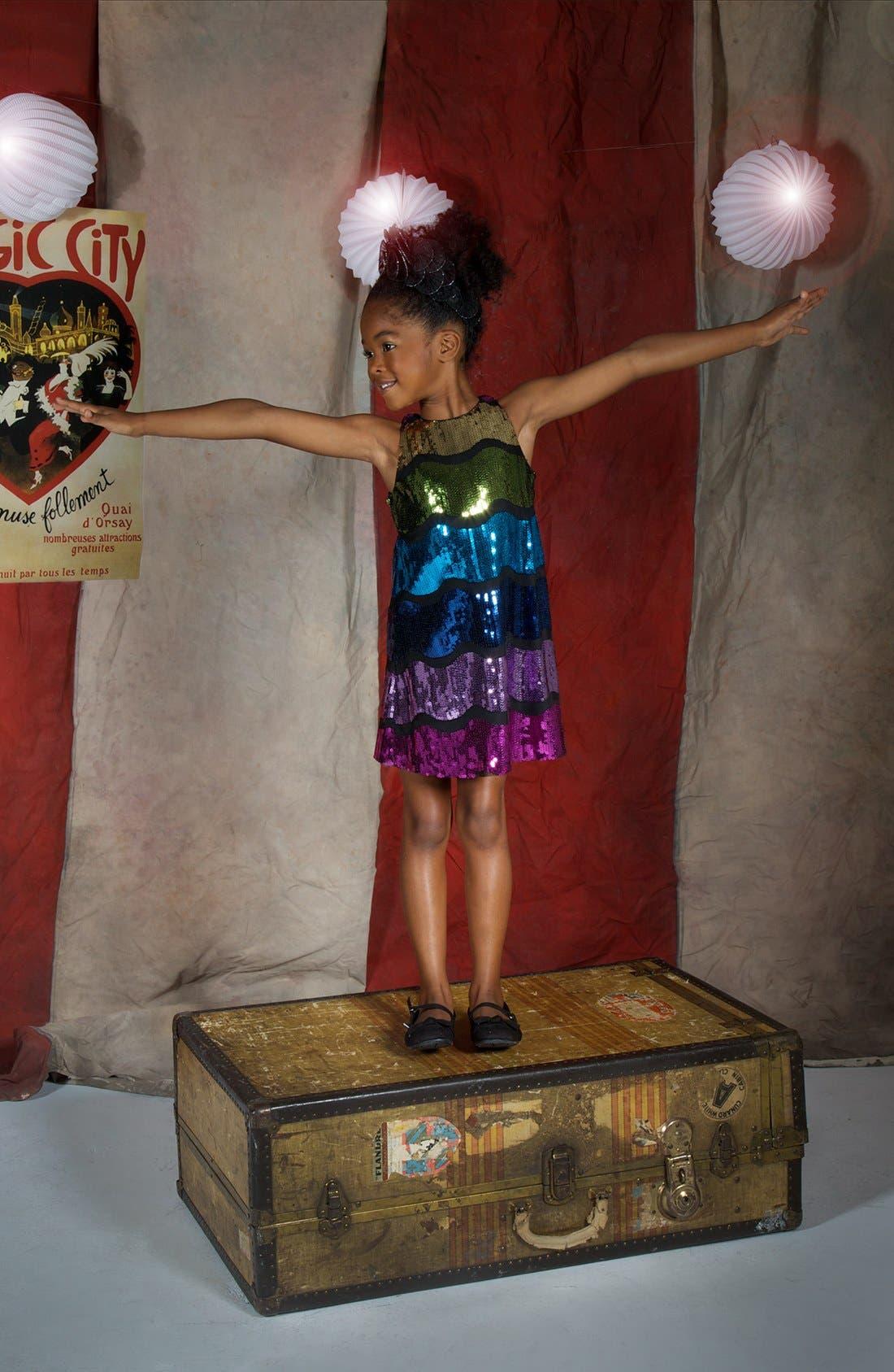 Alternate Image 2  - Pippa & Julie Sleeveless Sequin Dress (Little Girls & Big Girls)