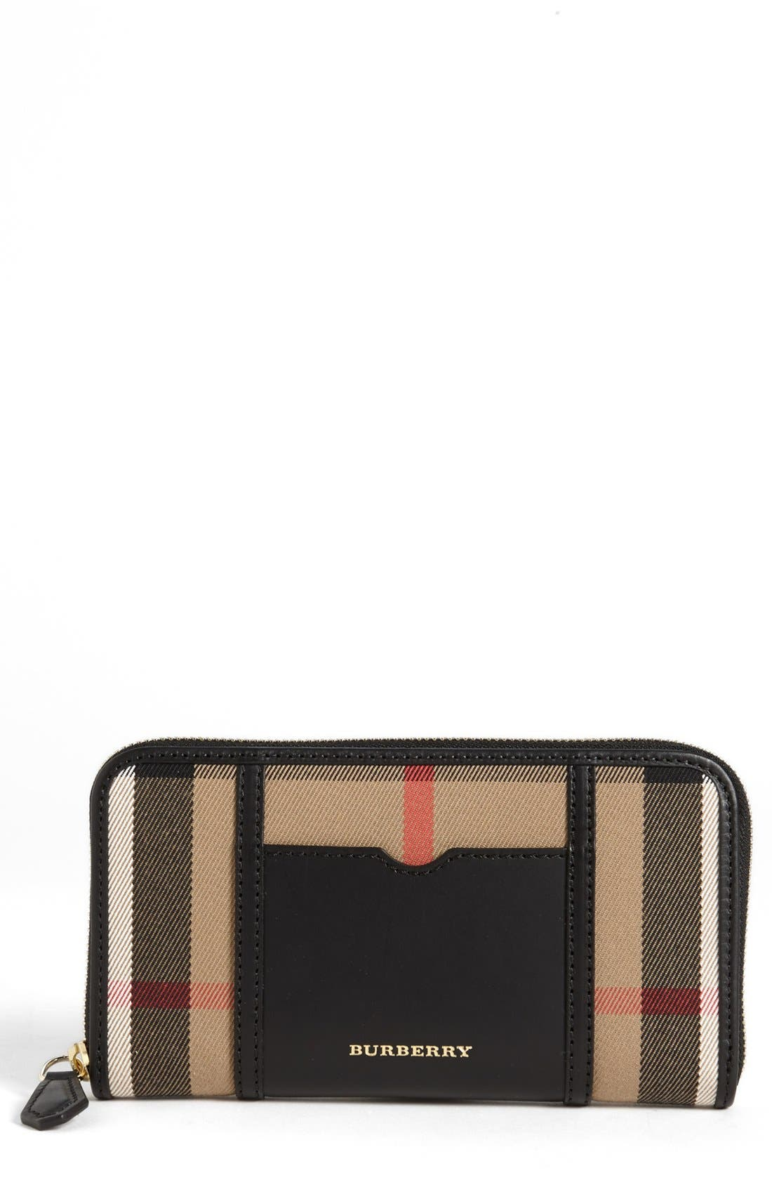 Alternate Image 1 Selected - Burberry 'House Check - Large' Zip Around Wallet