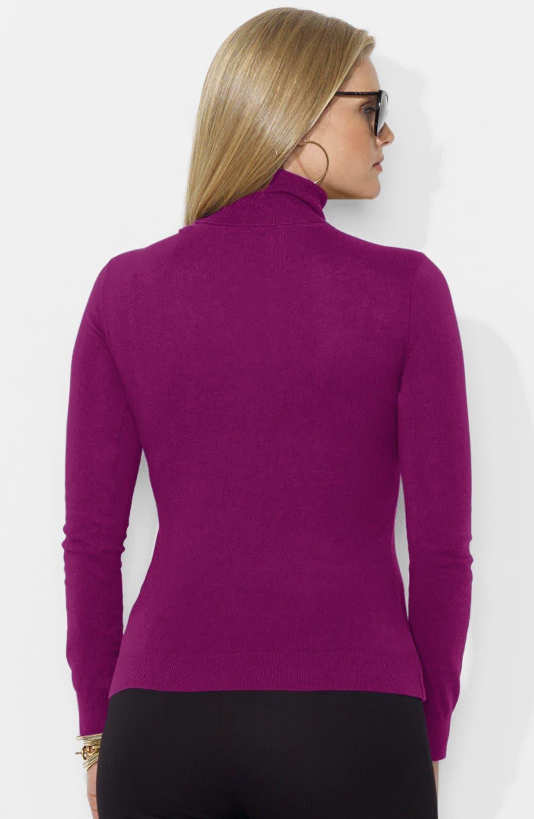 Alternate Image 2  - Lauren Ralph Lauren Cotton Blend Turtleneck (Plus Size)
