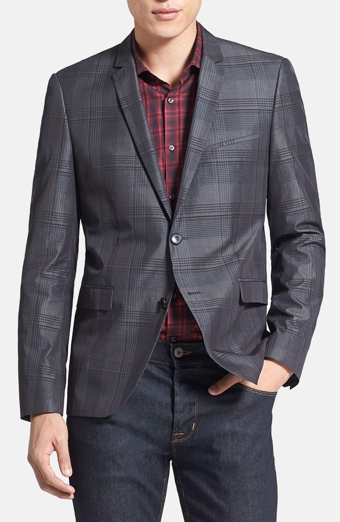 Alternate Image 1 Selected - HUGO 'Adris' Extra Trim Fit Plaid Sportcoat