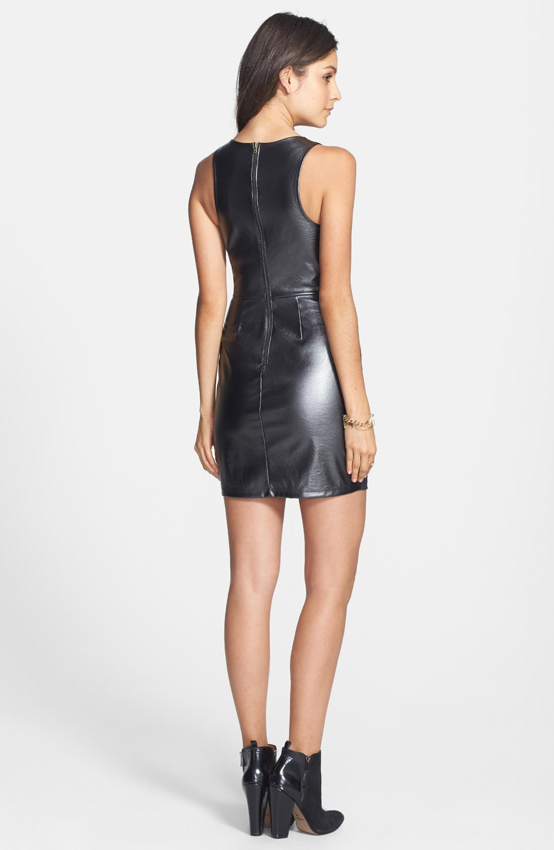 Main Image - Lush Faux Leather Back Body-Con Dress (Juniors) (Online Only)