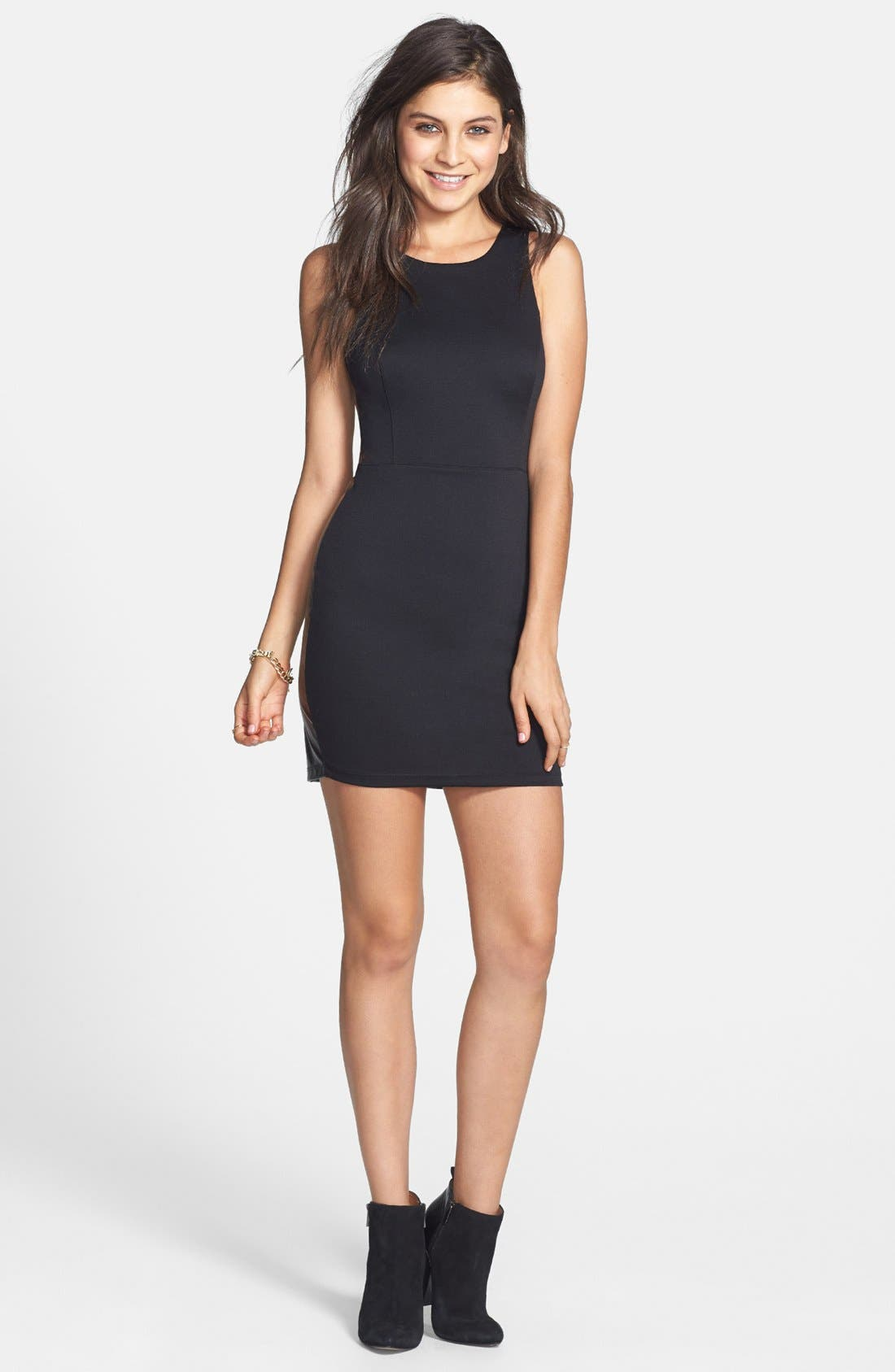Alternate Image 2  - Lush Faux Leather Back Body-Con Dress (Juniors) (Online Only)
