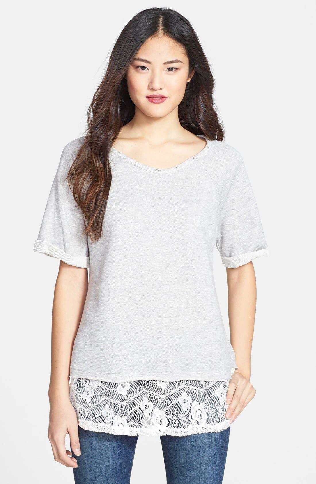 Main Image - Bobeau Lace Bottom Sweatshirt