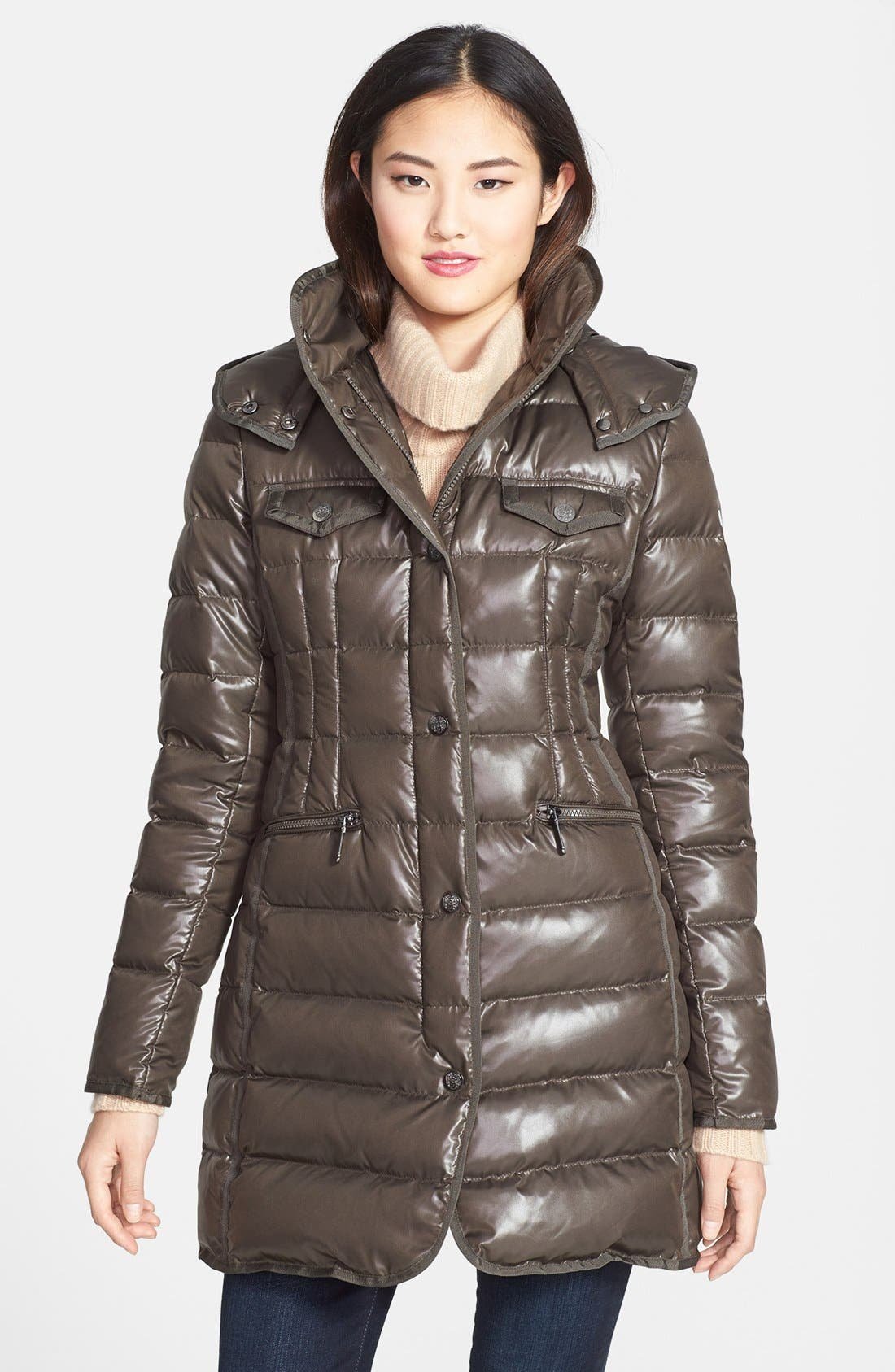Alternate Image 1 Selected - Vince Camuto Grosgrain Trim Down & Feather Coat with Detachable Hood