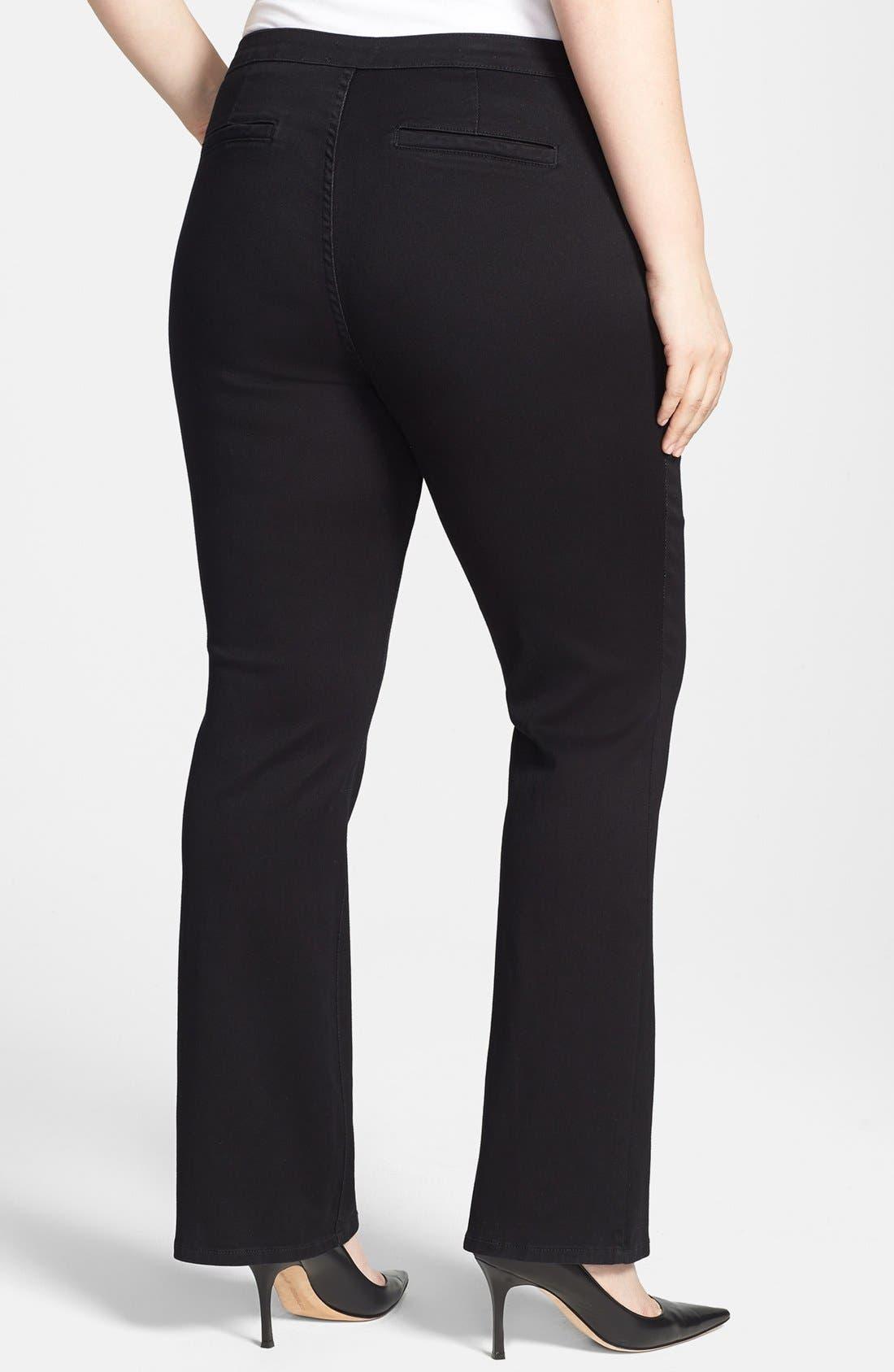 Alternate Image 2  - NYDJ Seamed Stretch Straight Leg Jeans (Plus Size)
