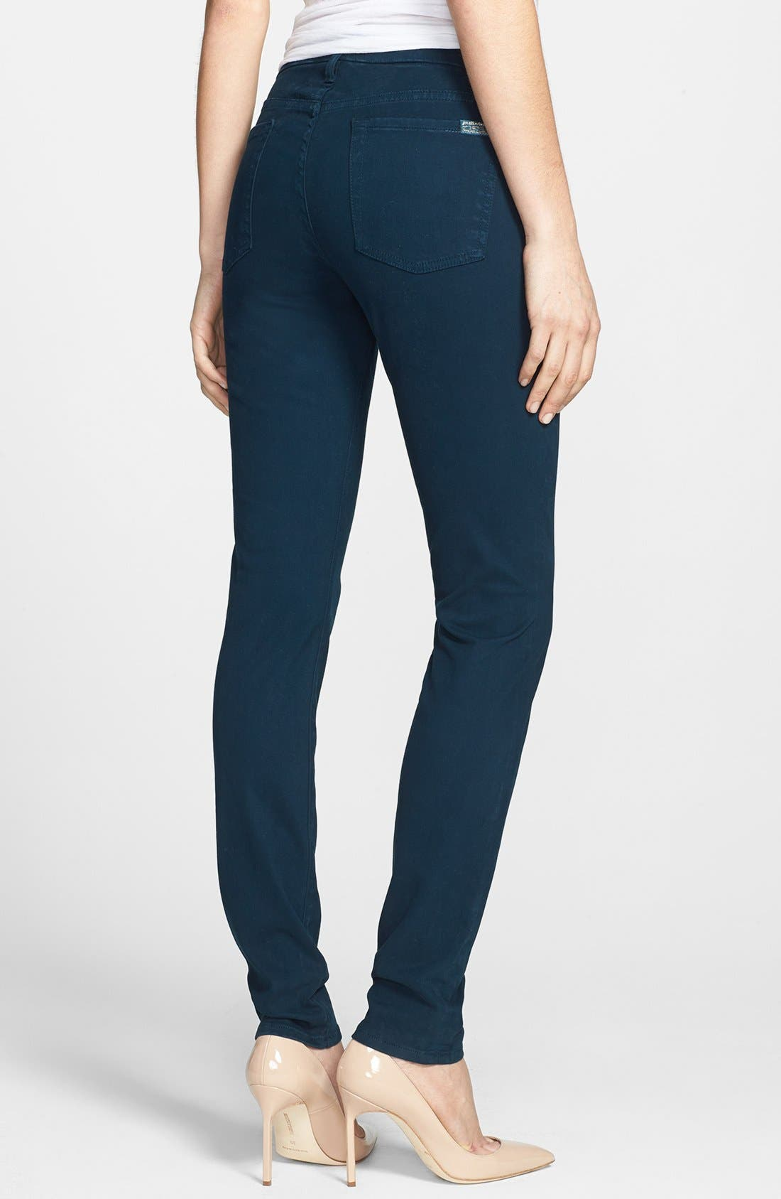 Alternate Image 2  - 7 For All Mankind® Sateen Skinny Jeans (Dark Capri)