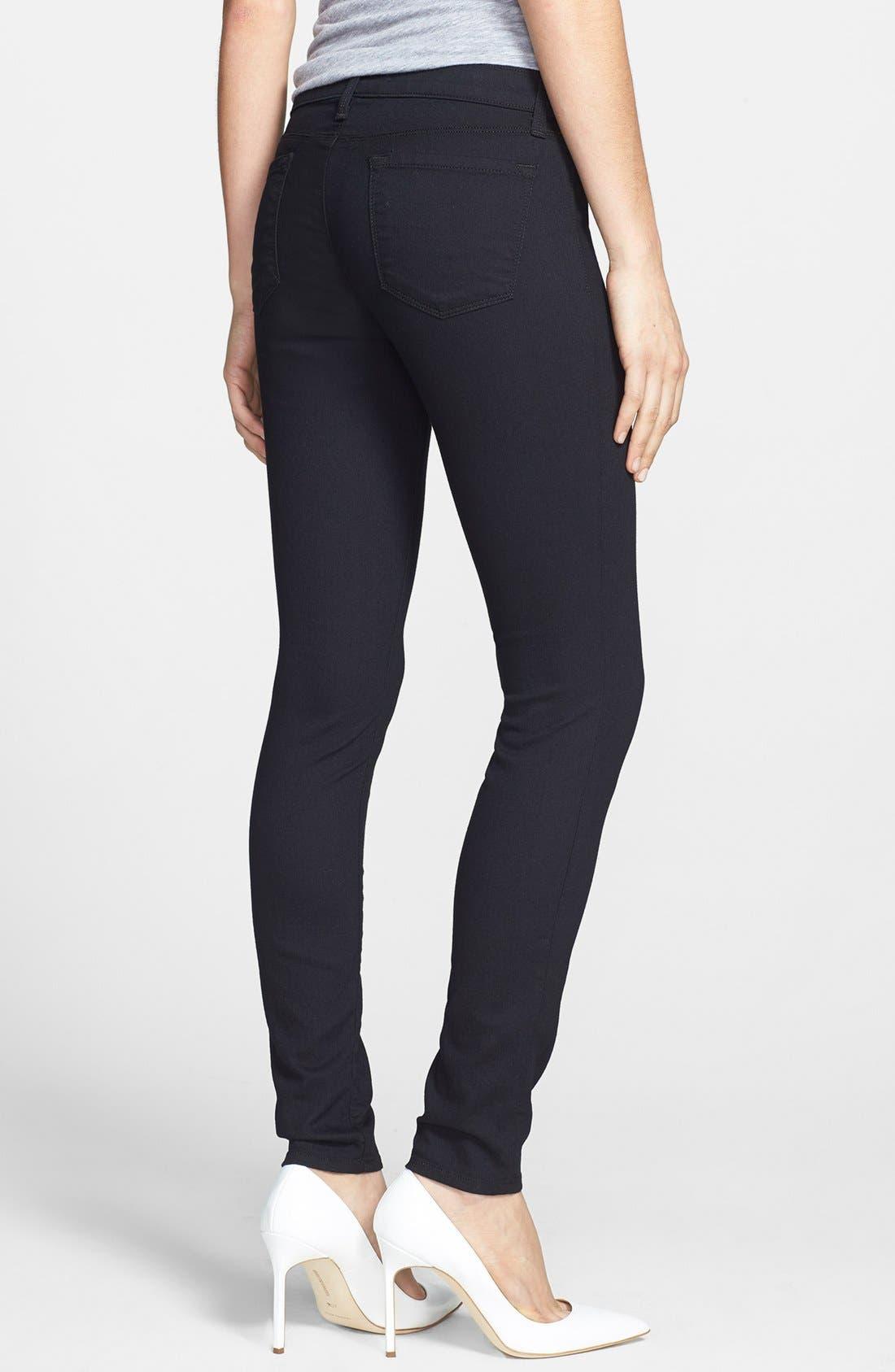 Alternate Image 2  - J Brand Super Skinny Jeans (Pitch Black)