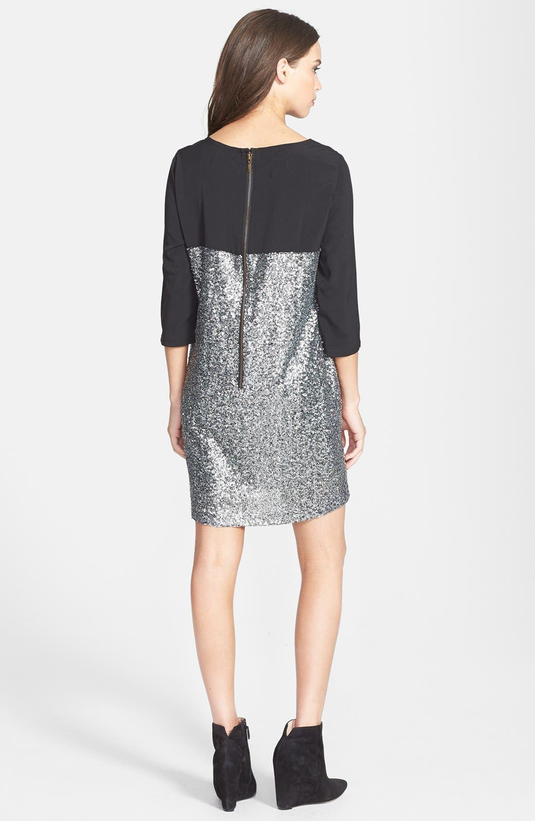 Alternate Image 2  - Press Chiffon & Sequin Shift Dress