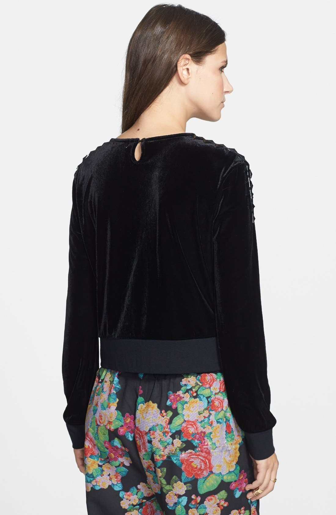 Alternate Image 2  - Leith Studded Velour Sweatshirt