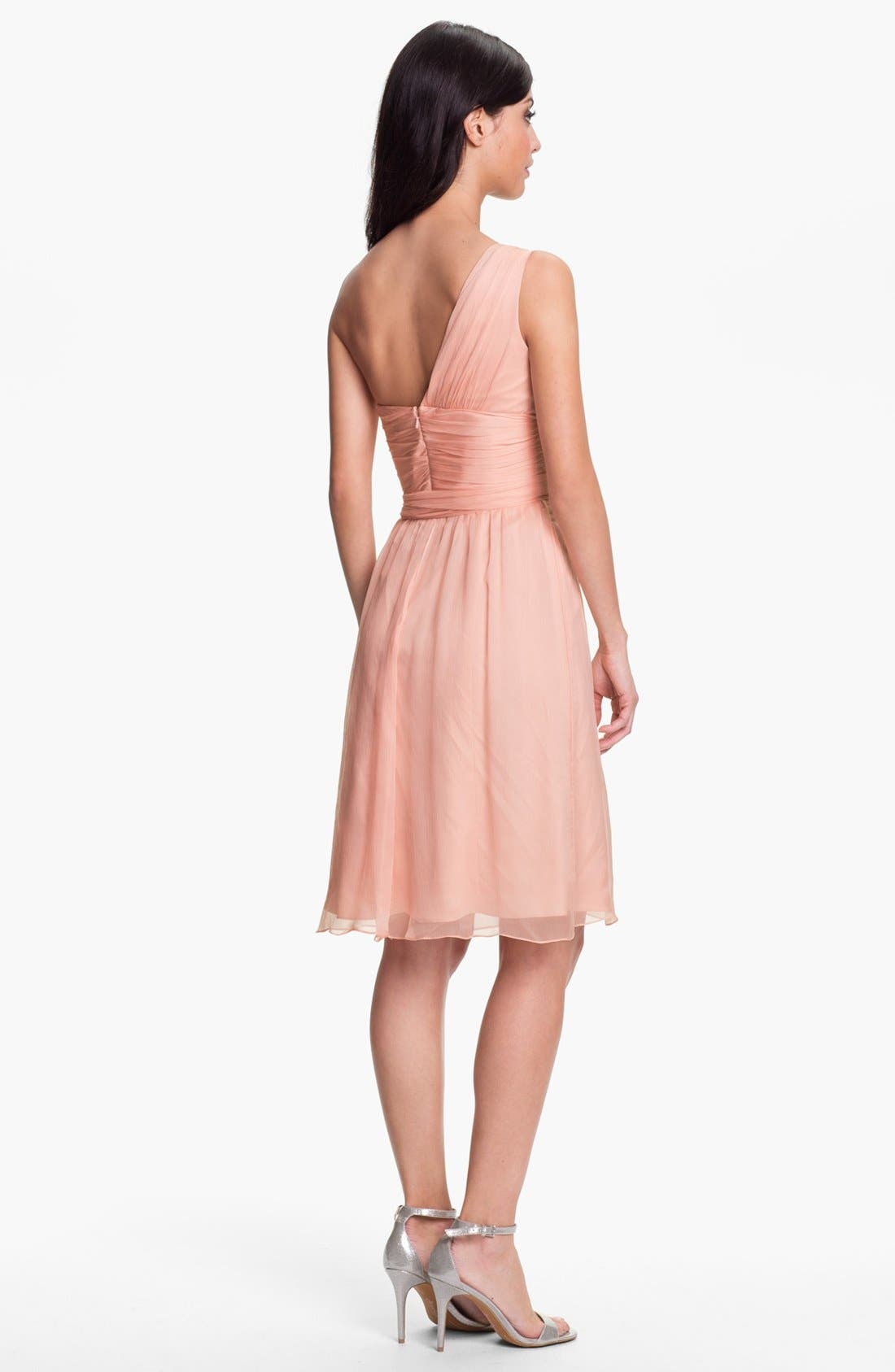Alternate Image 2  - Amsale One-Shoulder Crinkle Silk Chiffon Dress