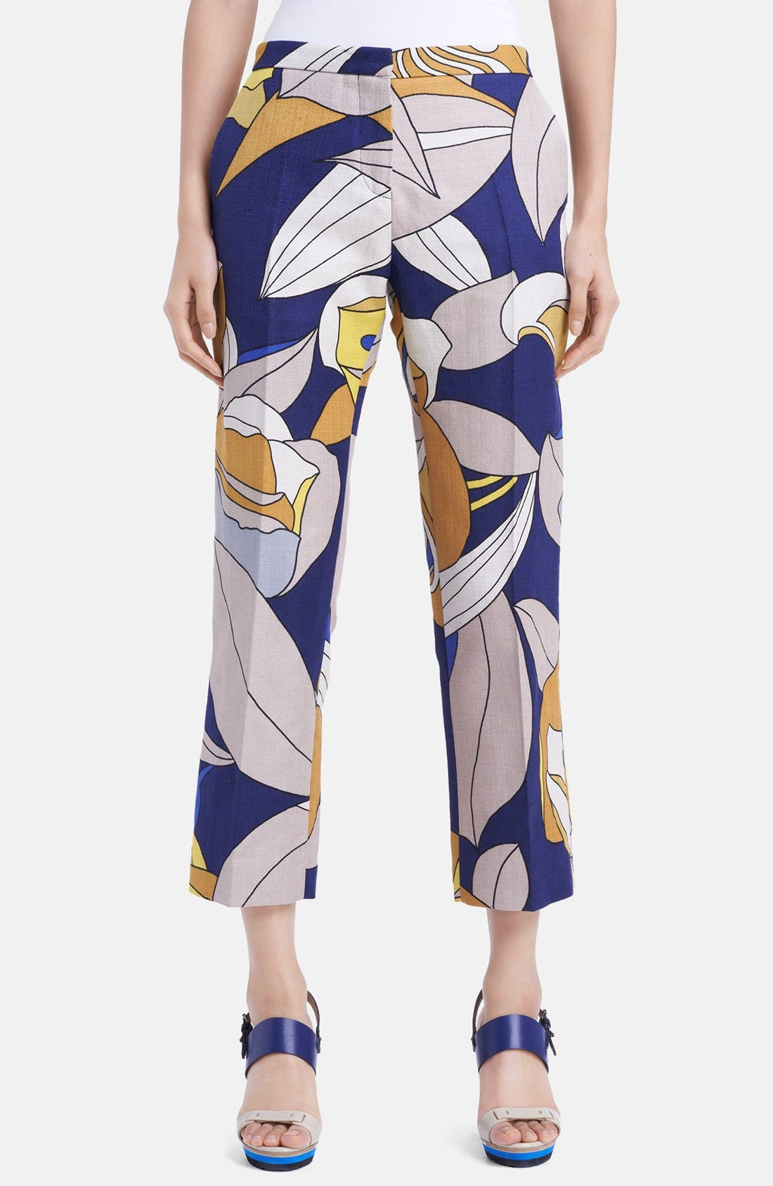 Main Image - Marni Floral Print Crop Cotton & Linen Pants