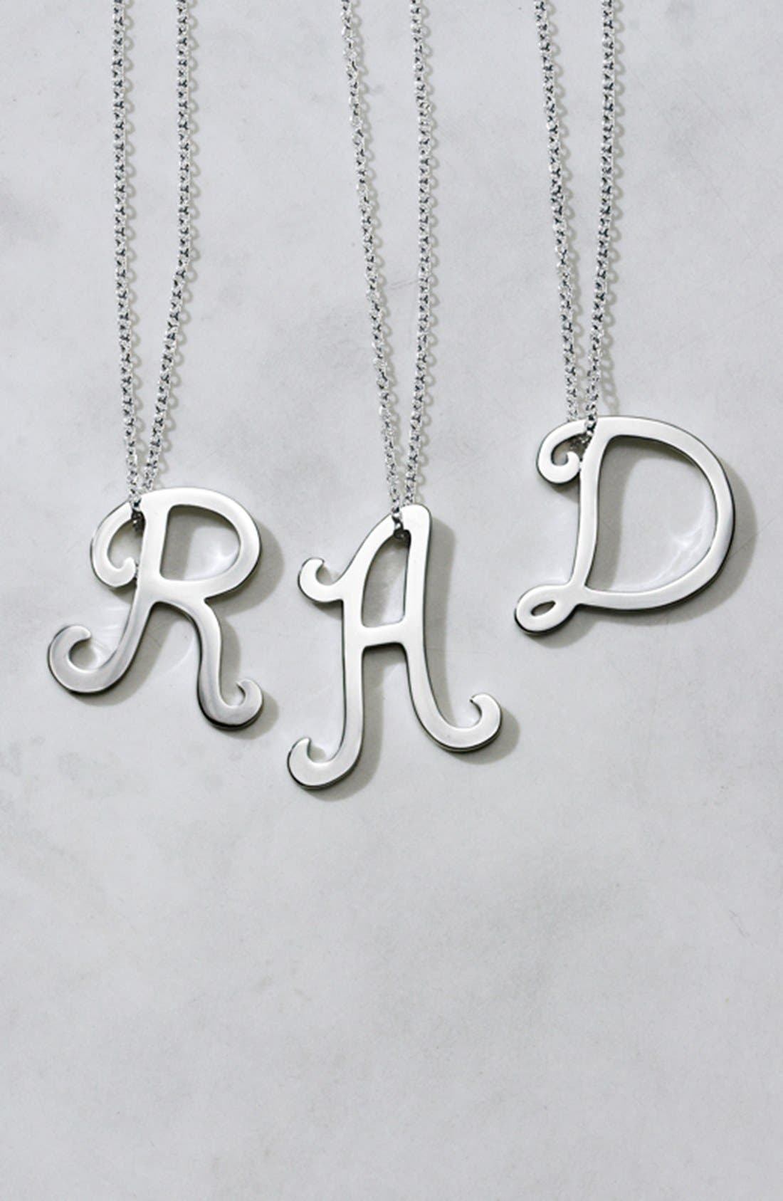 Alternate Image 5  - Ariella Collection Silver Scroll Initial Pendant Necklace