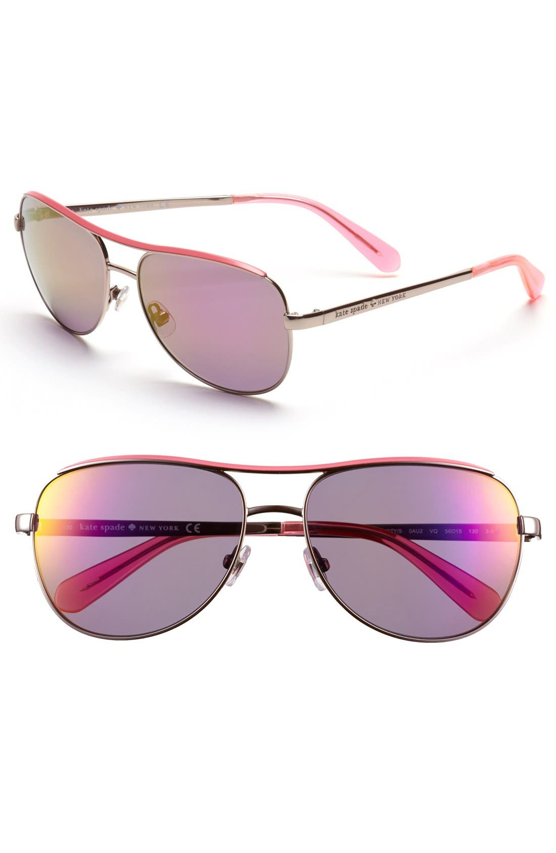 Main Image - kate spade new york 'dusty' 56mm metal aviator sunglasses