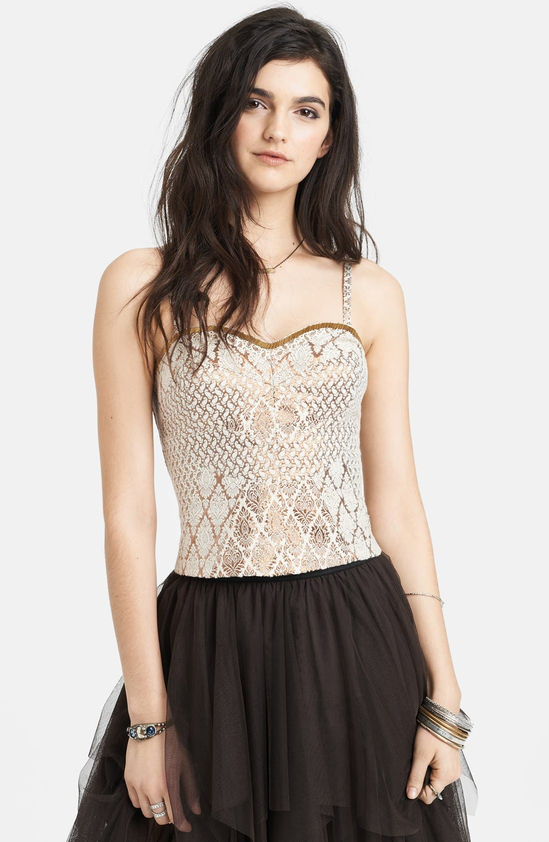 Alternate Image 1 Selected - Free People 'Shellbourne' Metallic Jacquard Bustier Tank