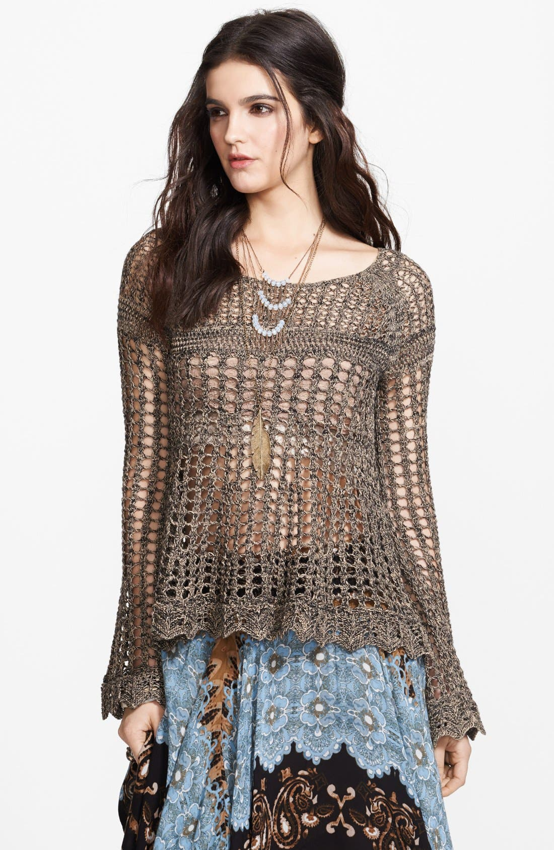 Main Image - Free People 'Annabelle' Crocheted Pullover