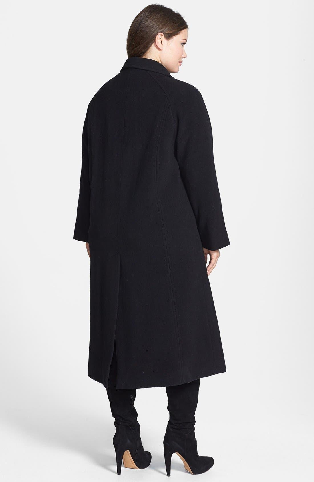 Alternate Image 2  - Ellen Tracy Single Breasted Long Wool Blend Coast (Plus Size)