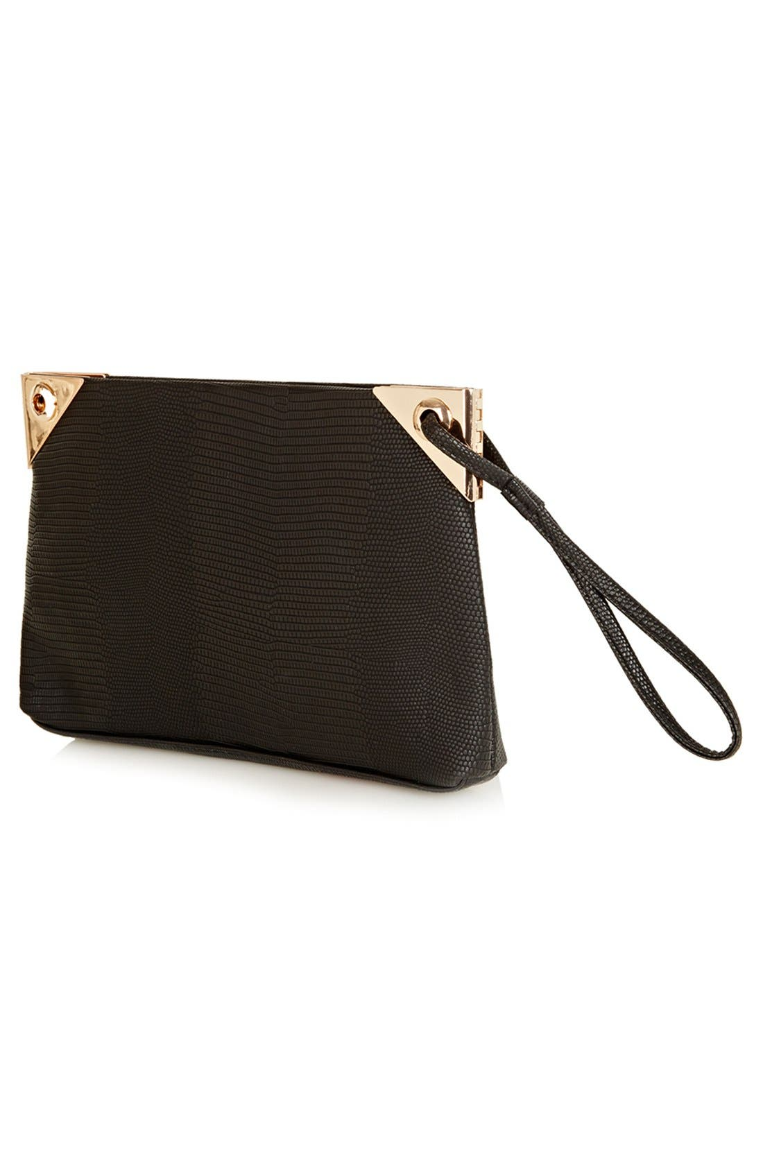 Alternate Image 3  - Topshop 'Hinge' Lizard Embossed Clutch