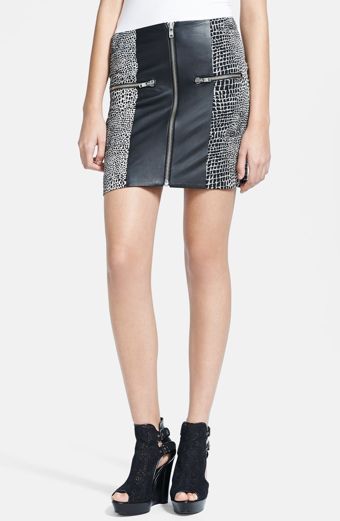 Main Image - The Kooples Leather & Crocodile Jacquard Skirt