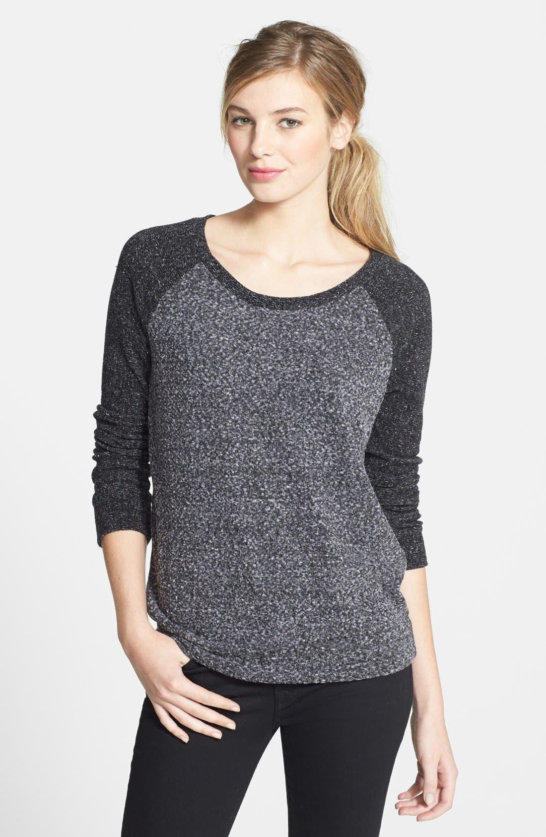 Alternate Image 1 Selected - Halogen® Raglan Sleeve Mélange Knit Top (Regular & Petite)