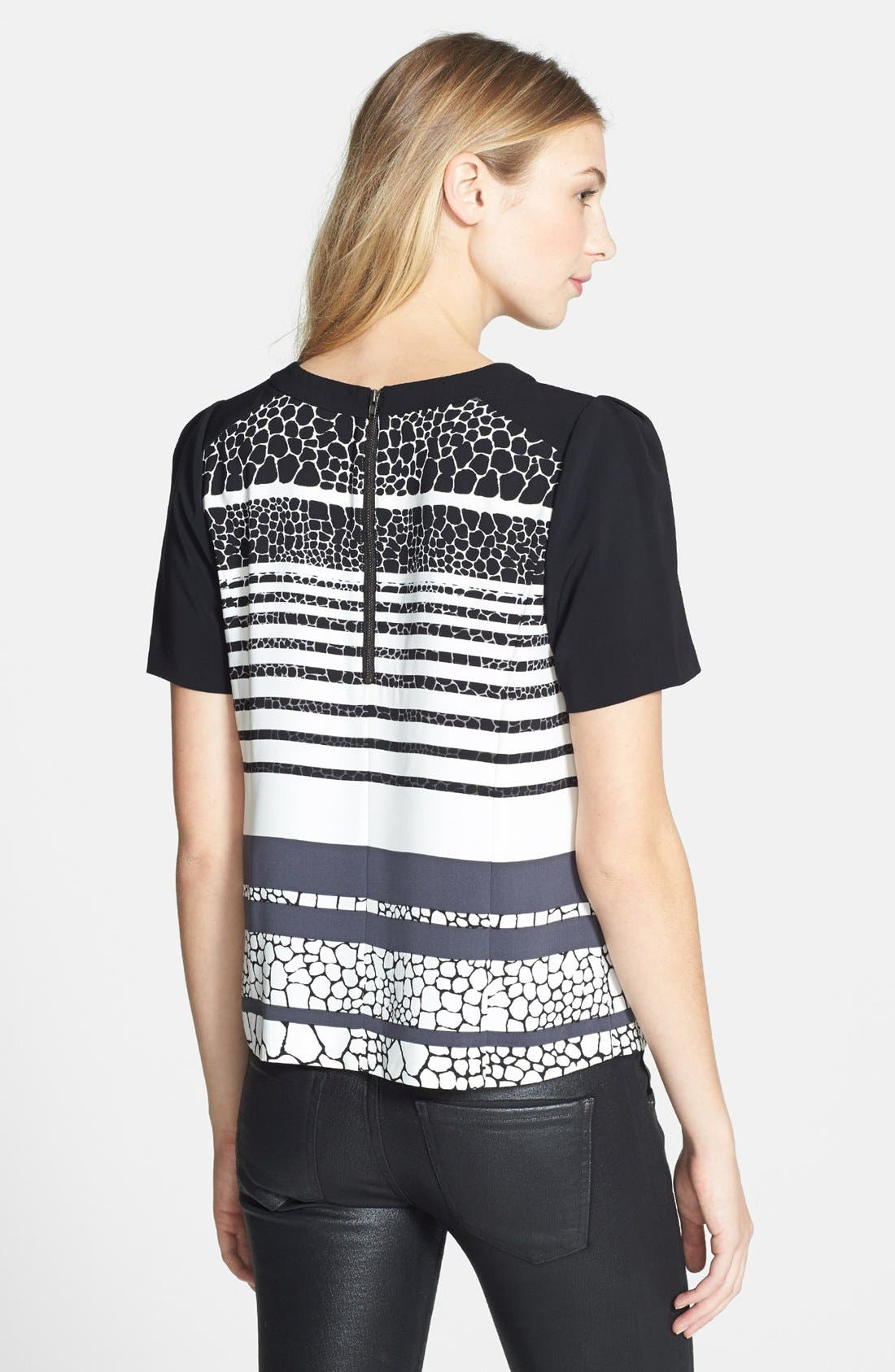 Alternate Image 2  - Halogen® Colorblock Short Sleeve Blouse