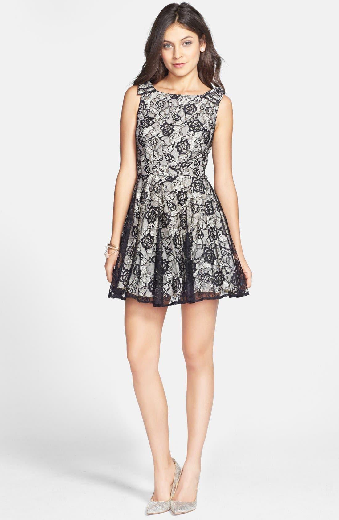 Alternate Image 1 Selected - Way-In Lace Skater Dress (Juniors)