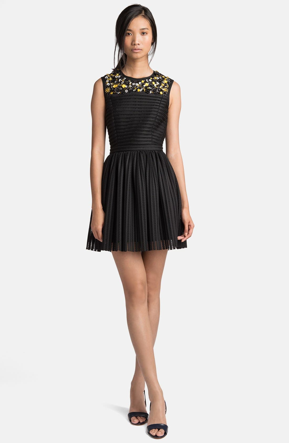 Main Image - MSGM Beaded Yoke Full Skirt Dress