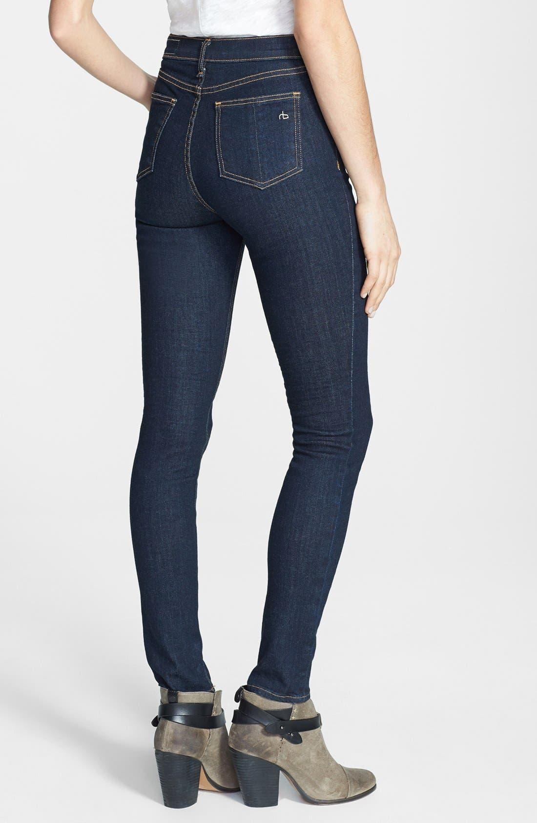 Alternate Image 2  - rag & bone/JEAN High Rise Skinny Jeans (Heritage)