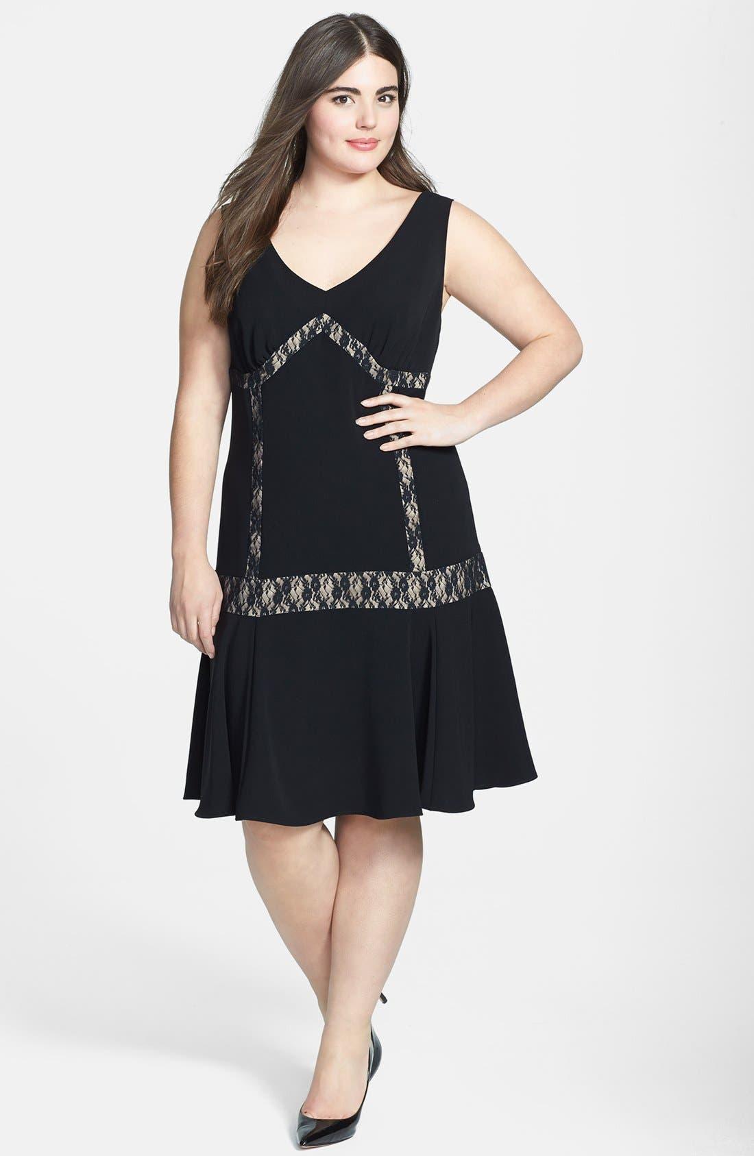 Alternate Image 1 Selected - ABS by Allen Schwartz Lace Inset Drop Waist Dress (Plus Size)