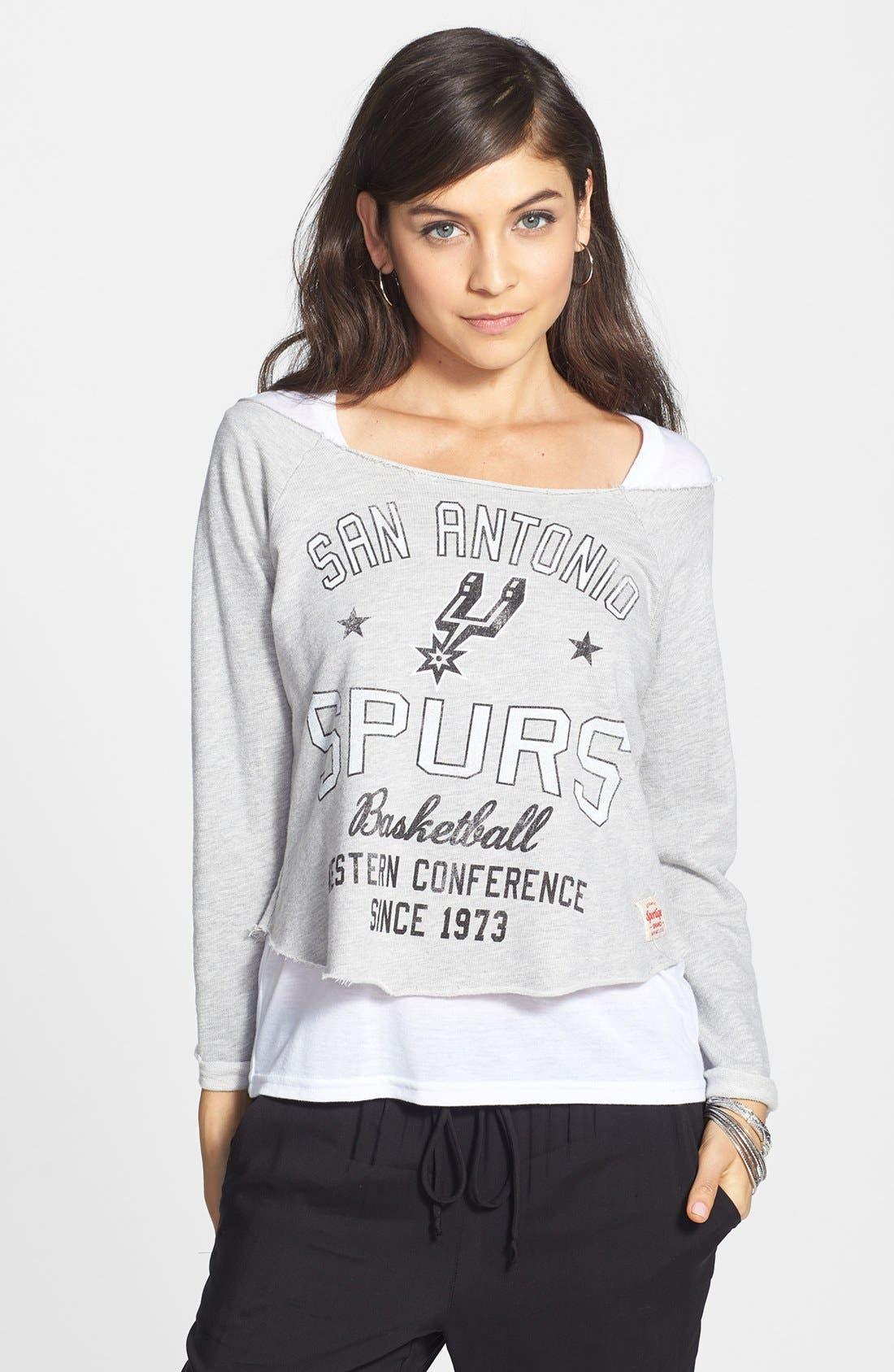 Alternate Image 1 Selected - Sportiqe 'San Antonio Spurs' Fleece Crop Sweatshirt (Juniors) (Online Only)