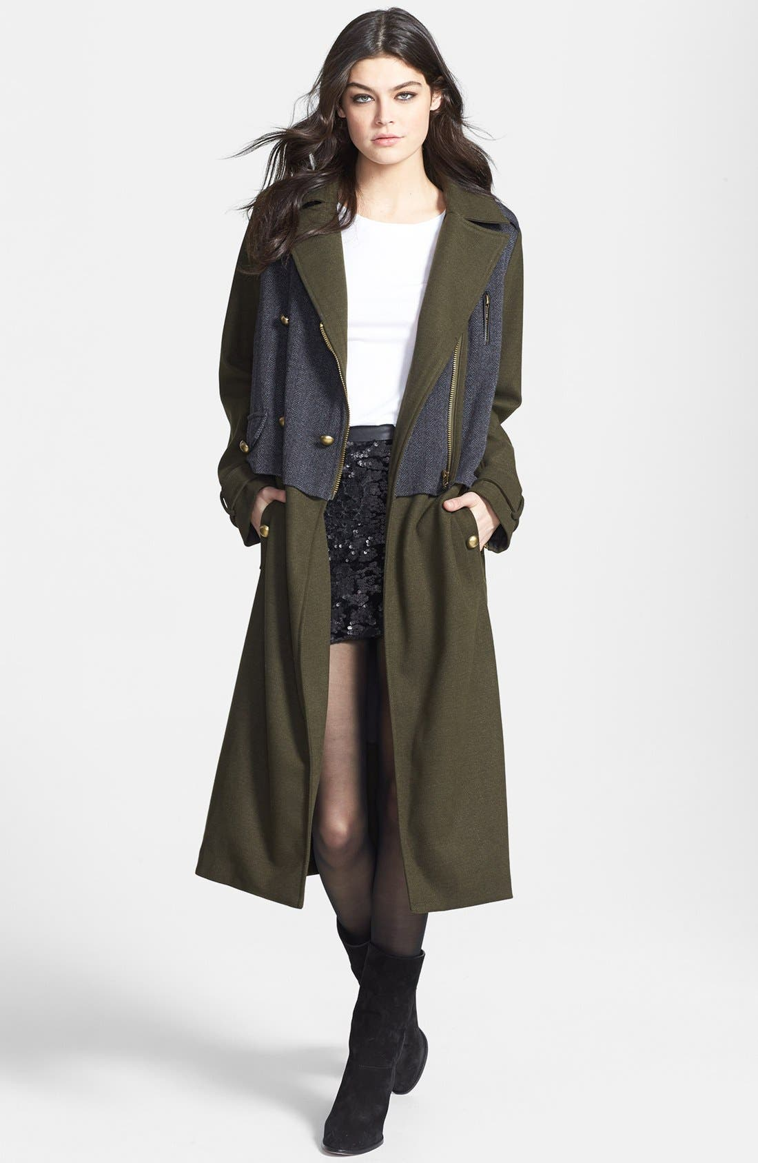 Main Image - Lucca Couture Tweed Panel Long Military Coat