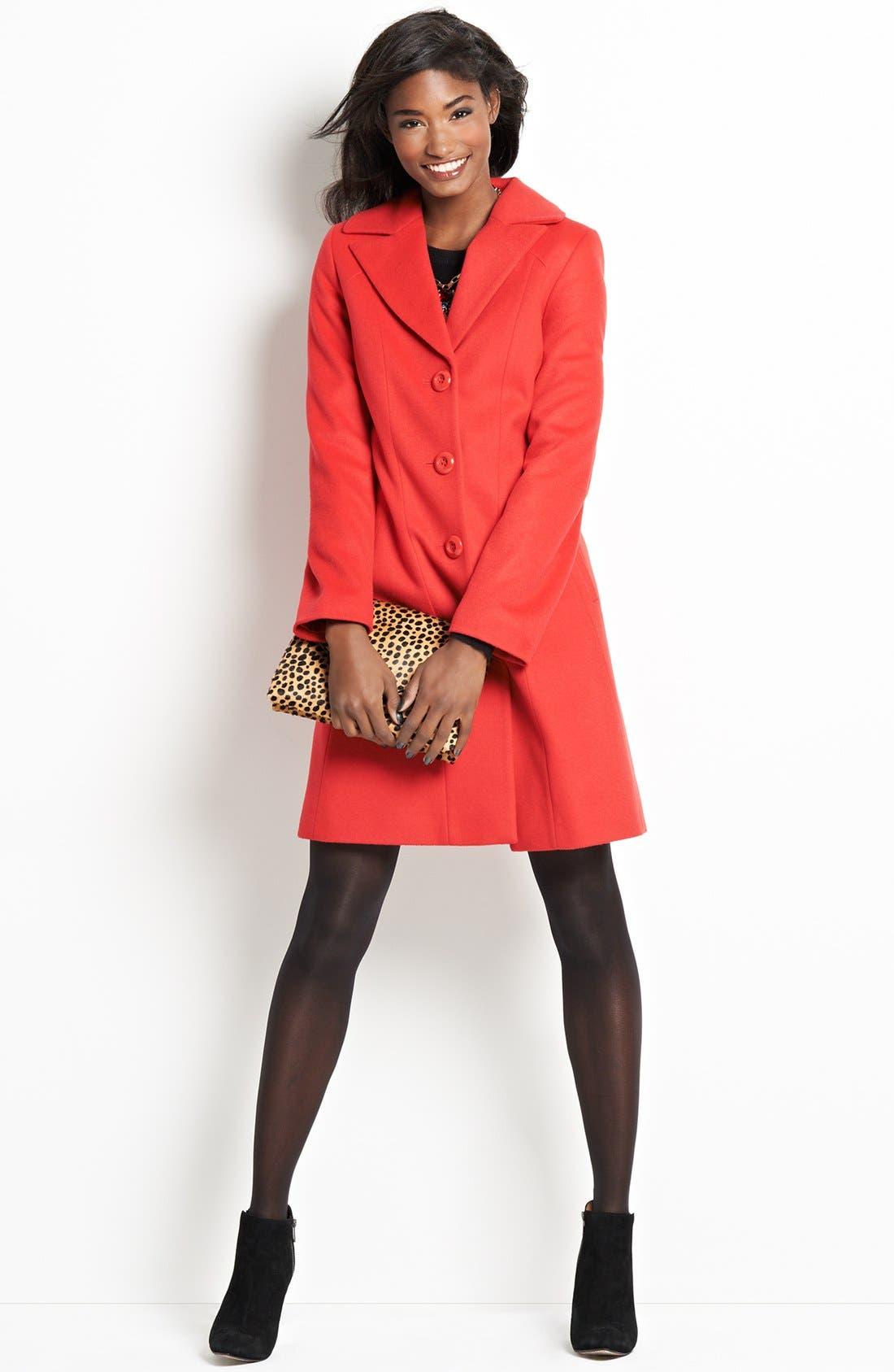 Main Image - Kristen Blake Single Breasted Lambswool Blend Coat (Regular & Petite) (Nordstrom Exclusive)