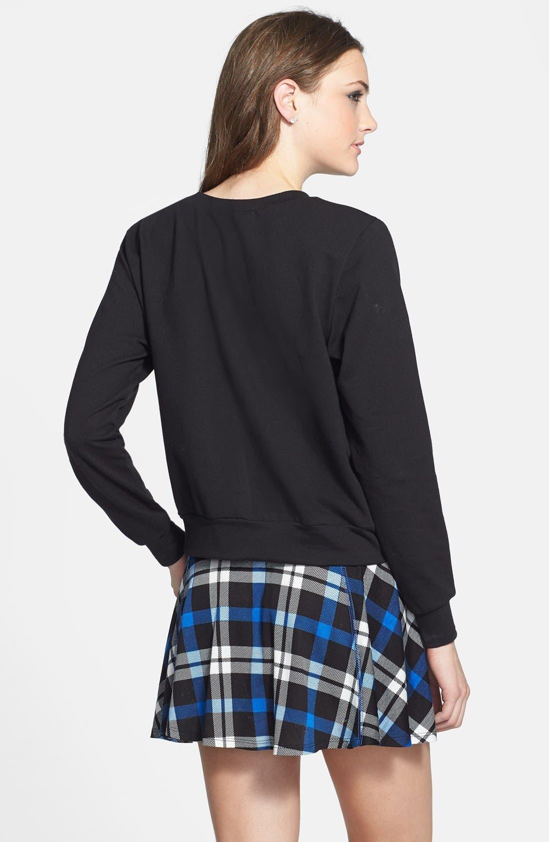 Alternate Image 2  - Starling 'Santa Bear' Crop Sweatshirt (Juniors) (Online Only)