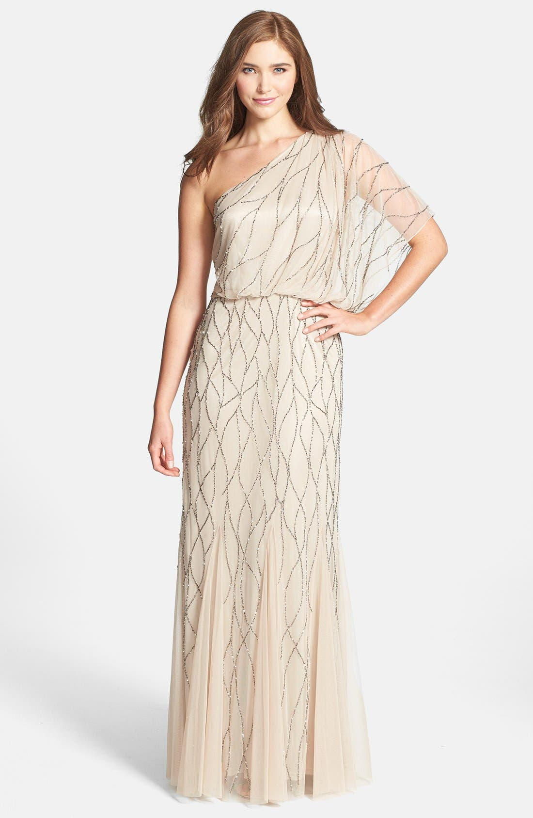 Alternate Image 1 Selected - Adrianna Papell Beaded One-Shoulder Blouson Dress