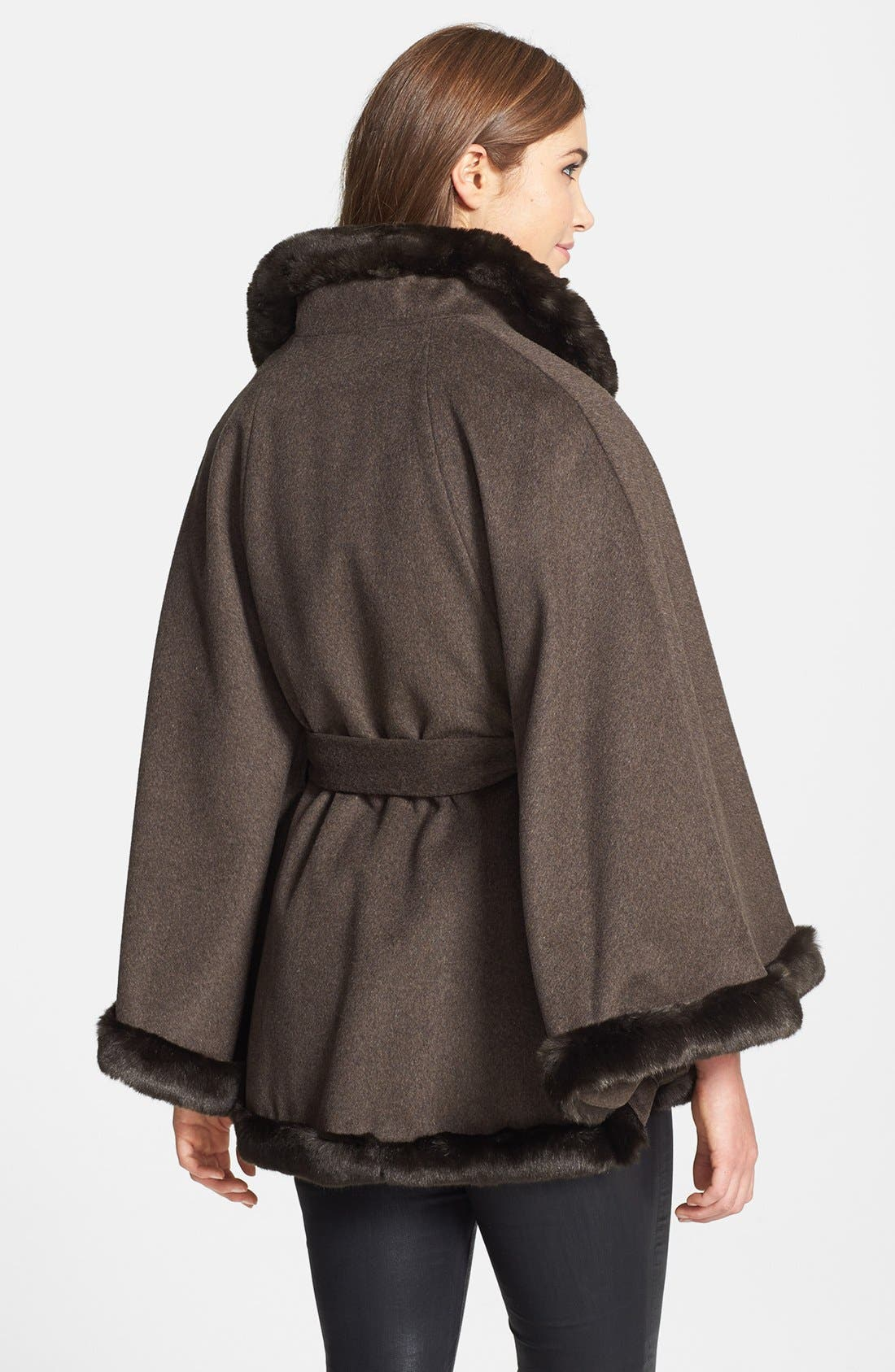 Alternate Image 2  - Ellen Tracy Faux Fur Trim Belted Cape