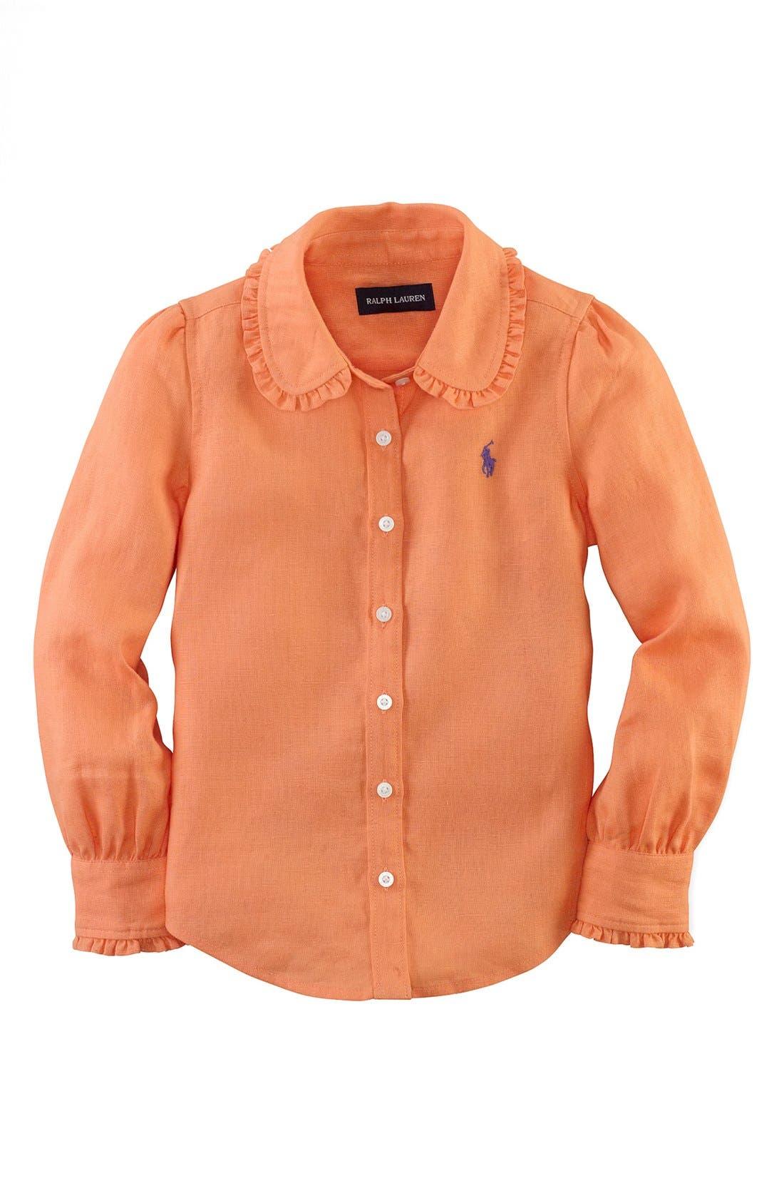 Alternate Image 1 Selected - Ralph Lauren Linen Shirt (Toddler Girls)