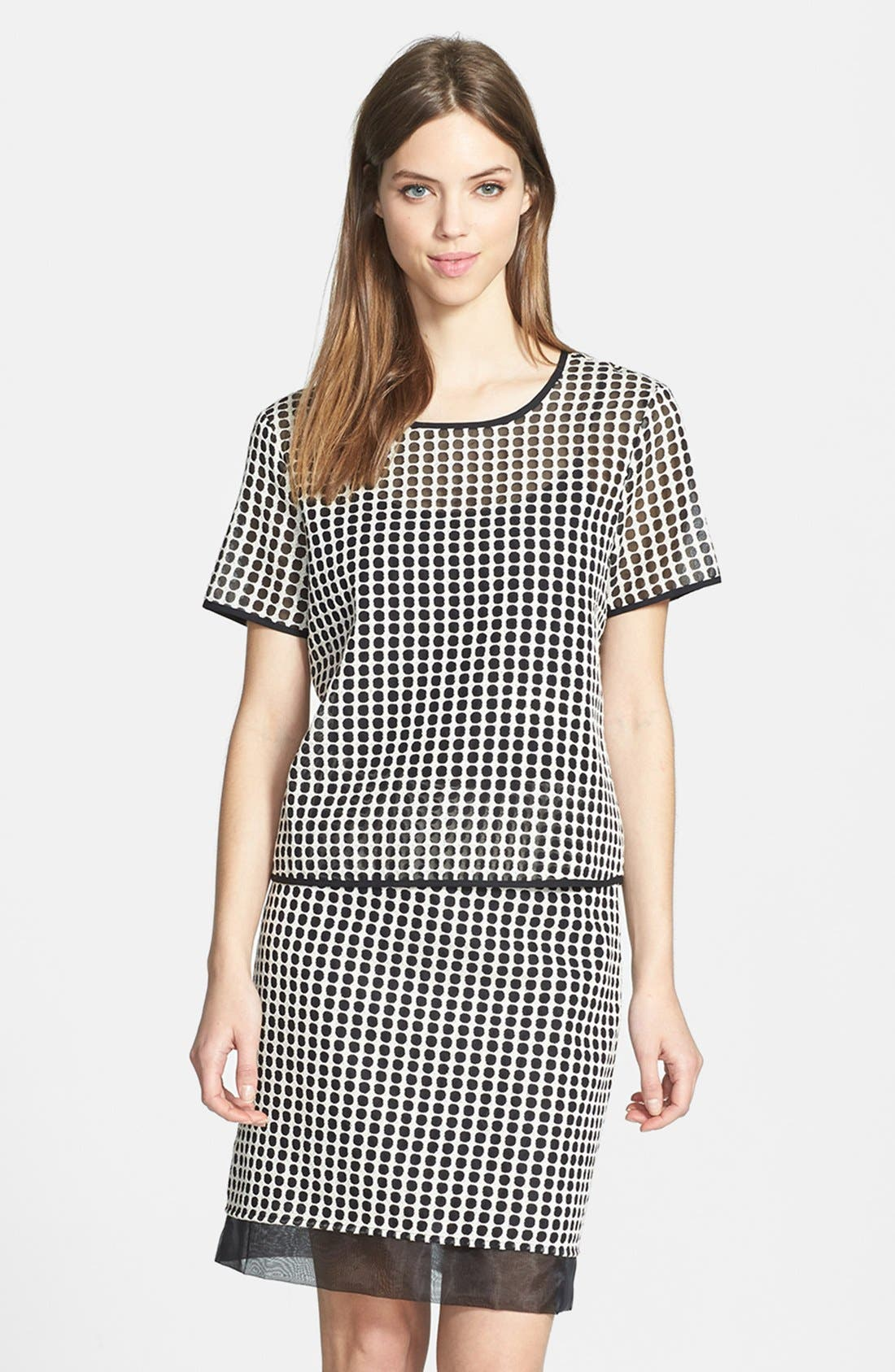 Alternate Image 1 Selected - Vince Camuto Two-Tone Dot Print Organza Blouse