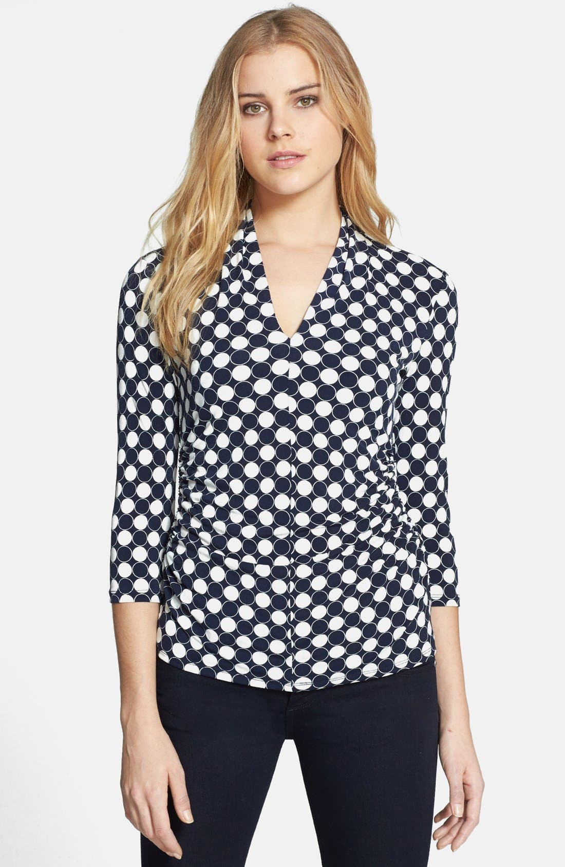 Alternate Image 1 Selected - Vince Camuto 'Retro Dots' V-Neck Top (Regular & Petite)