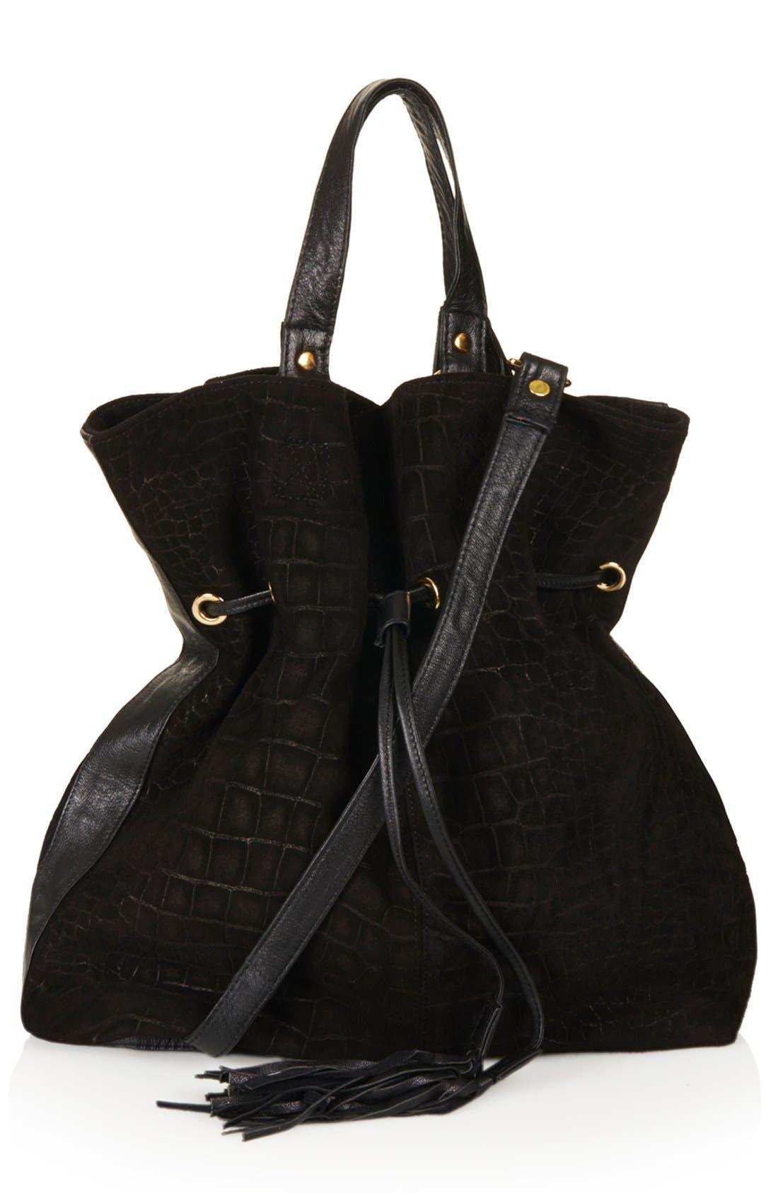Main Image - Topshop Croc Embossed Suede Duffel Bag