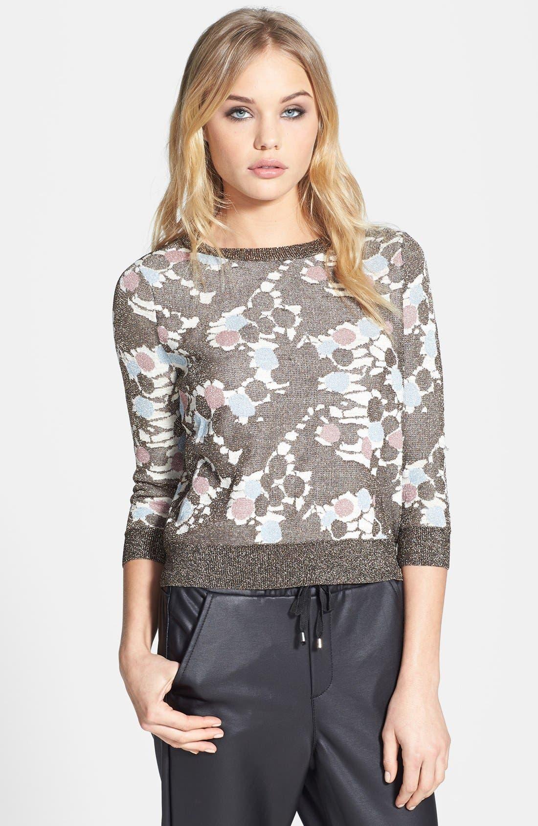 Alternate Image 1 Selected - Topshop 'Chateau Bronze' Metallic Print Sweater