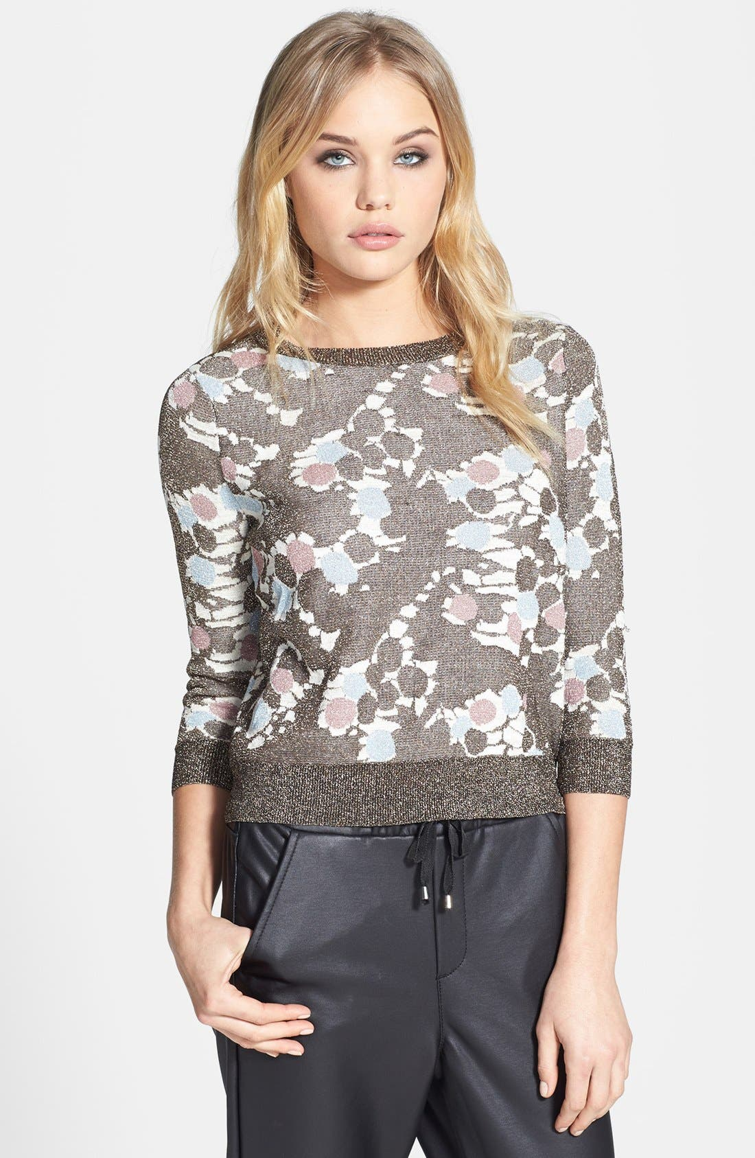 Main Image - Topshop 'Chateau Bronze' Metallic Print Sweater