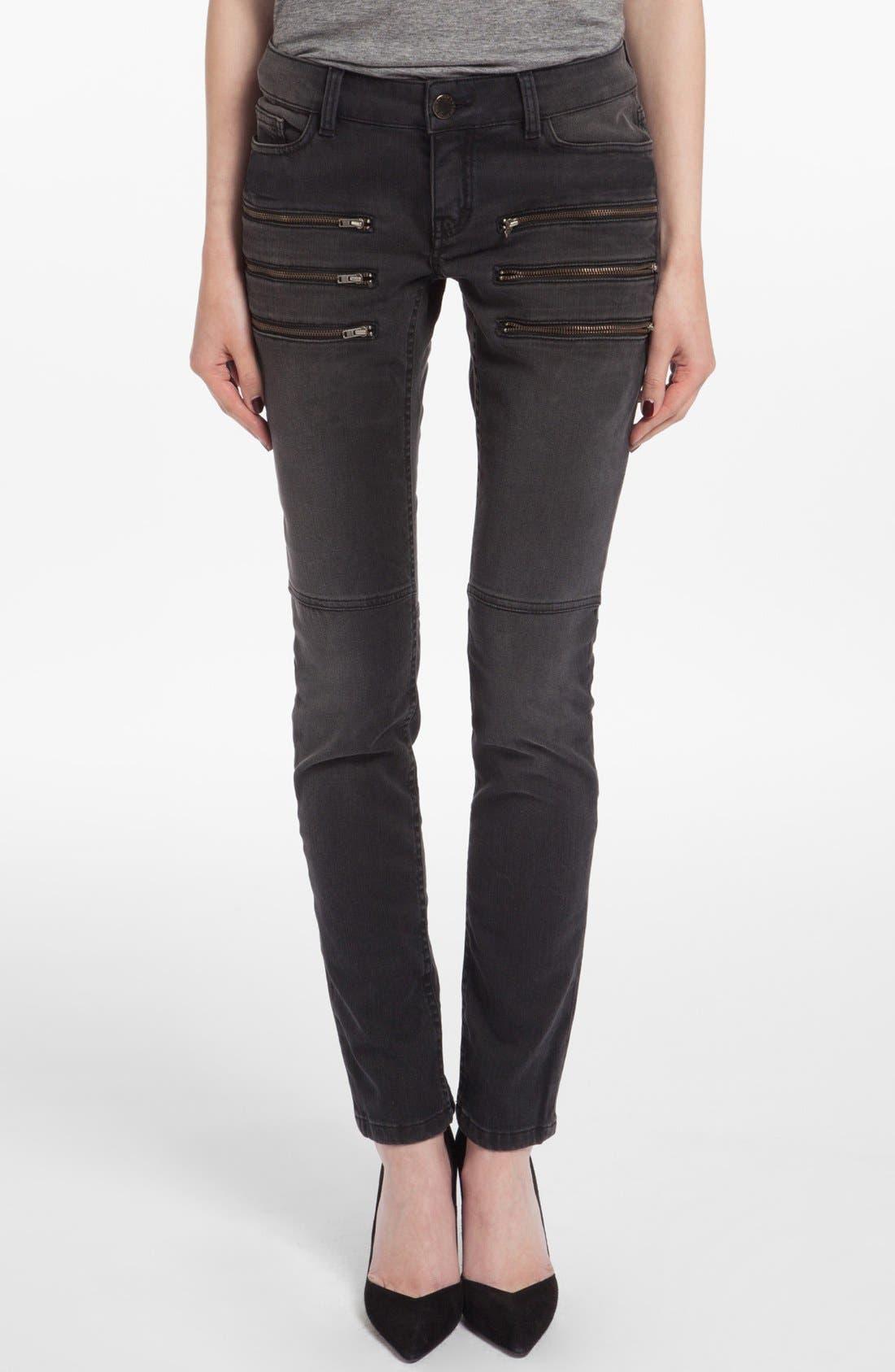 Alternate Image 1 Selected - maje 'Dip' Colored Skinny Jeans (Noir)